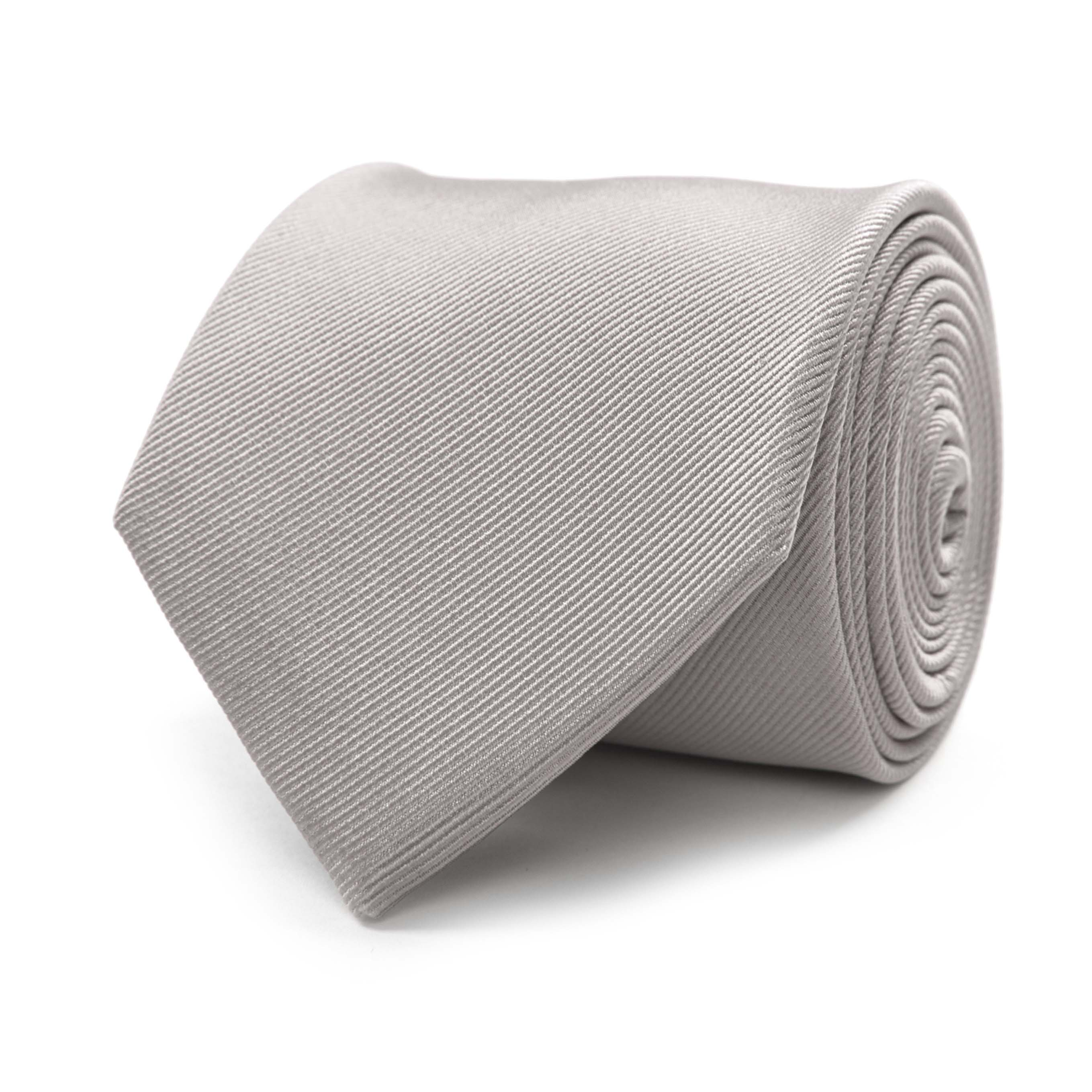 Tie classic ribbed silver grey