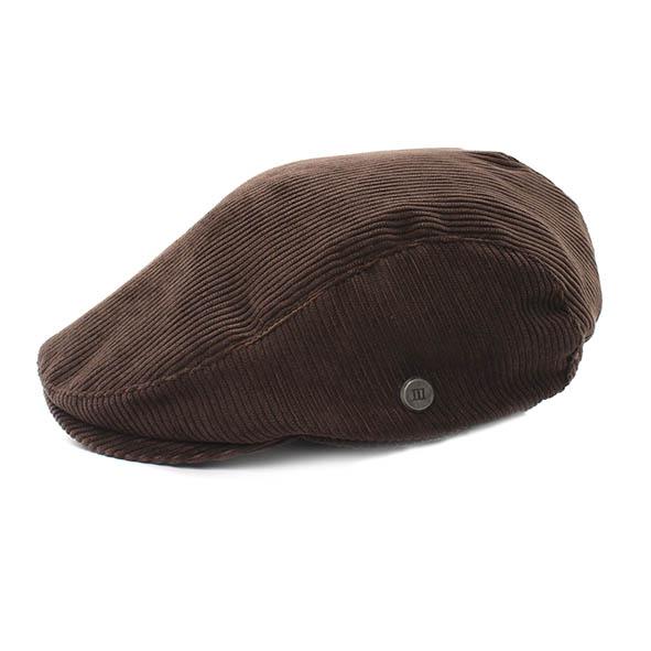 Brown ribcord flatcap