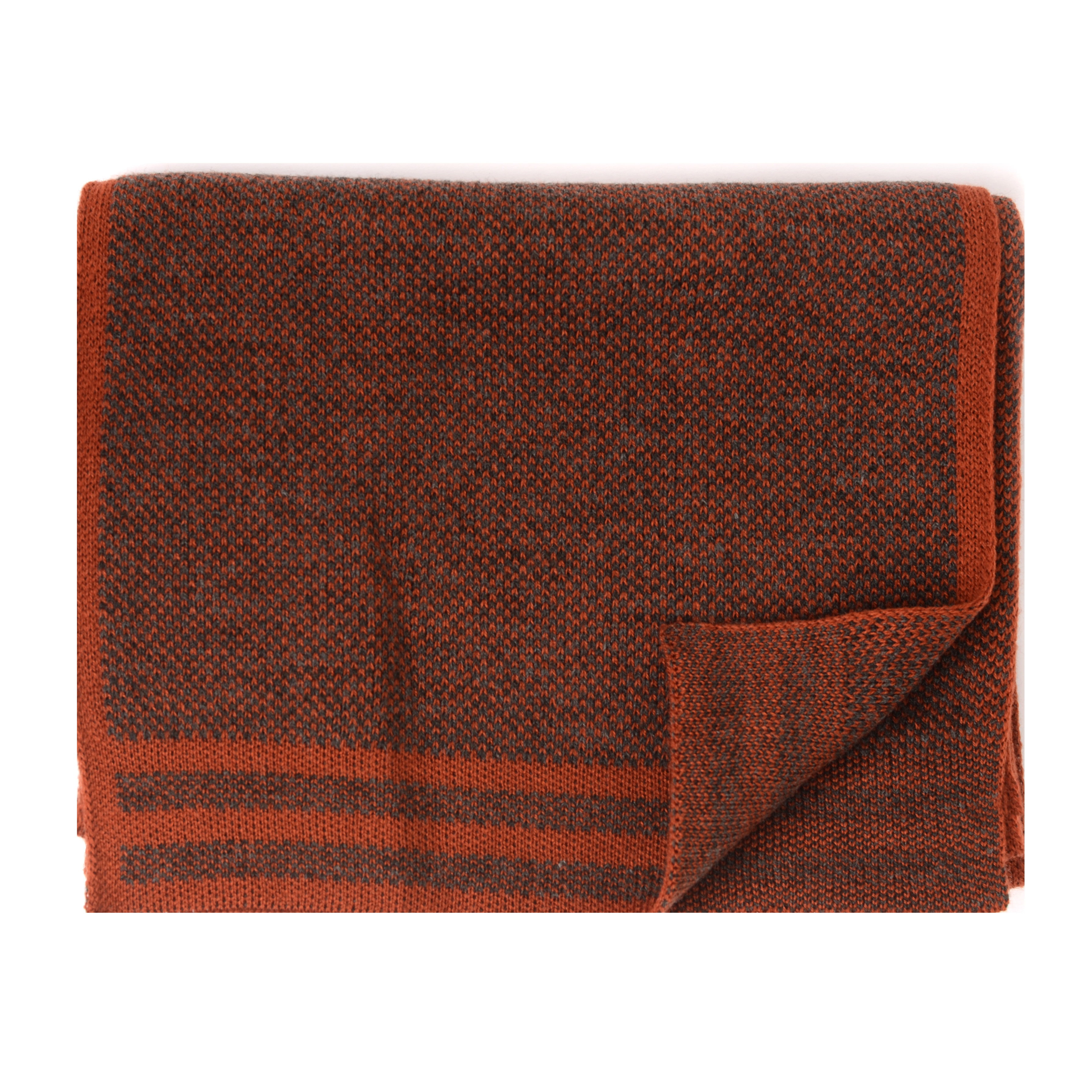 Jowin   Scarf knitted with colored border orange