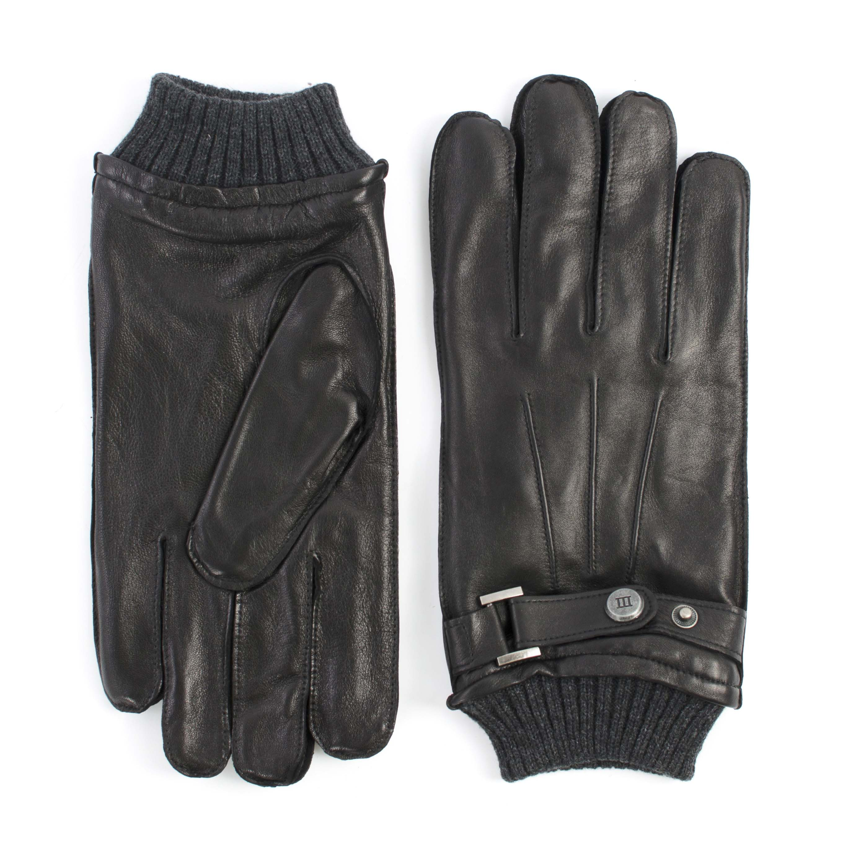 Gloves black analine sheepleather with knitted cuff