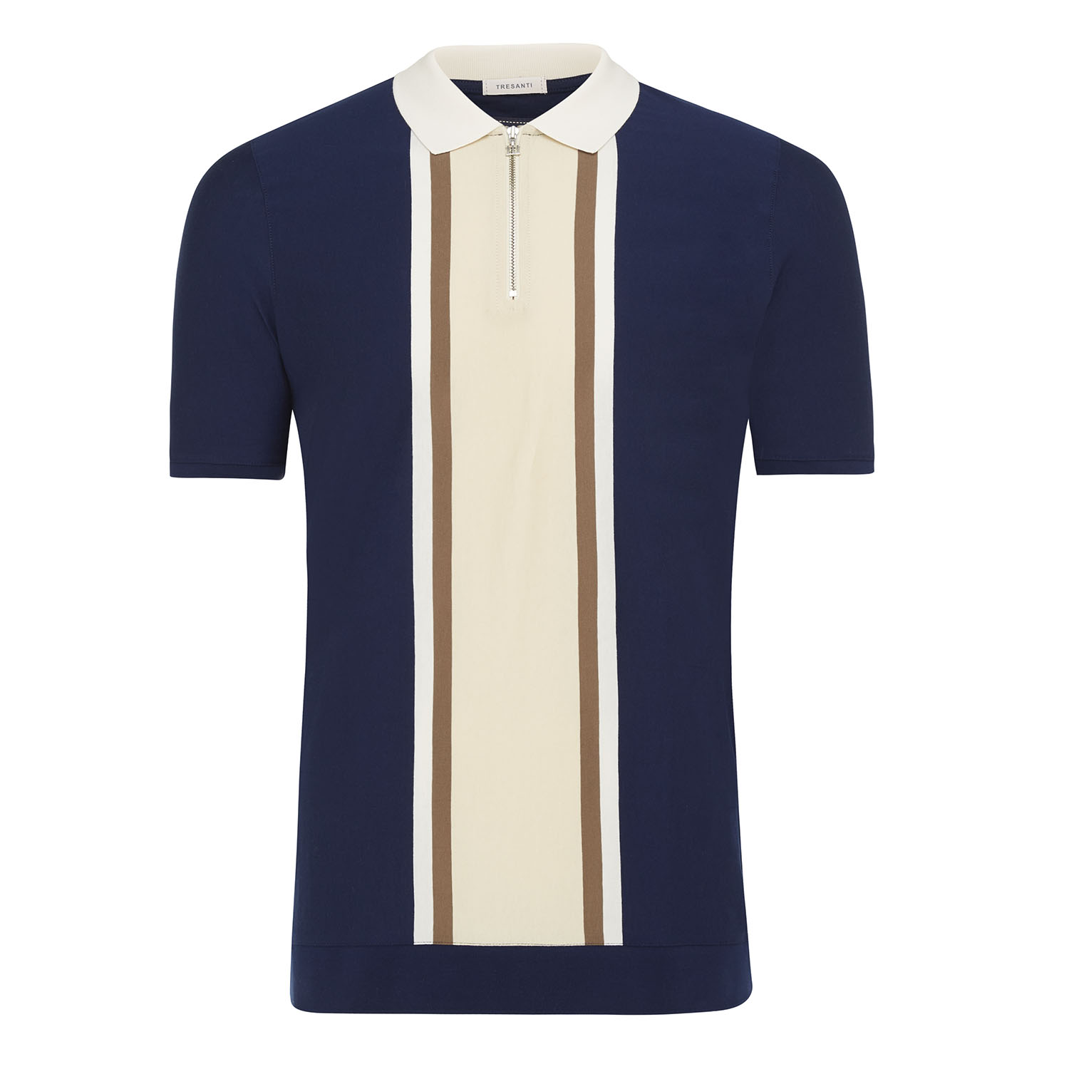 Marvin | Polo cotton mercerized with zipper navy