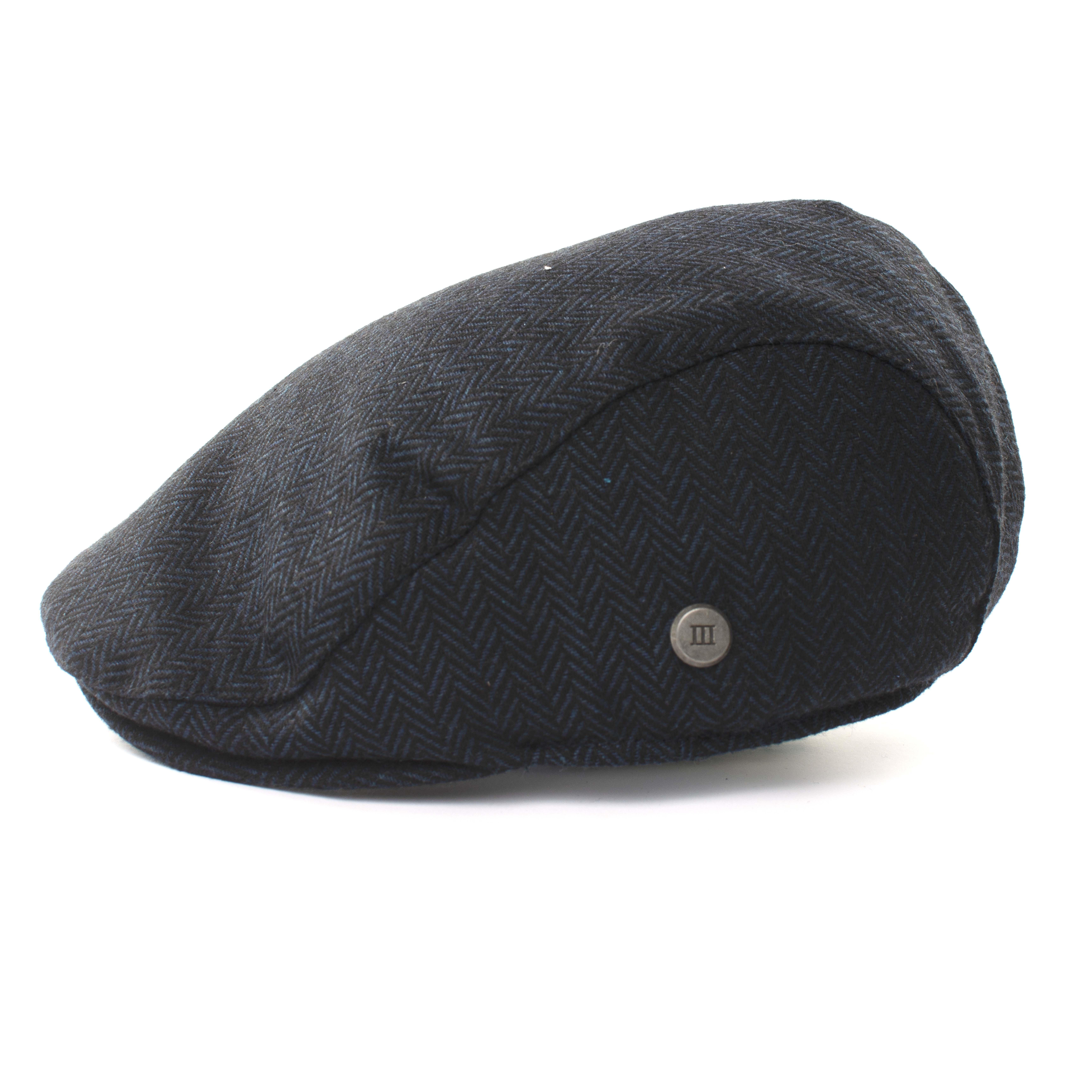 Navy herringbone flatcap
