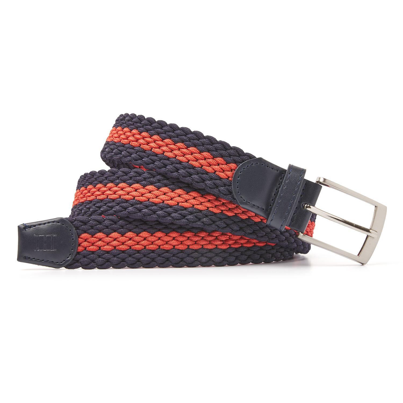 Mees | Belt braided navy/coral
