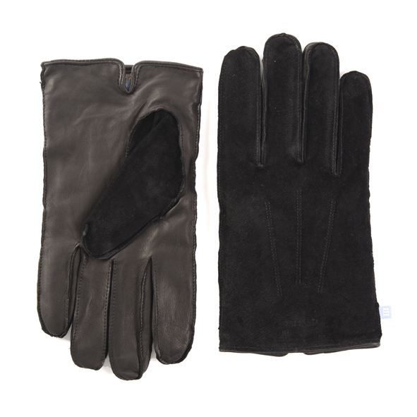 Gloves black leather with suede