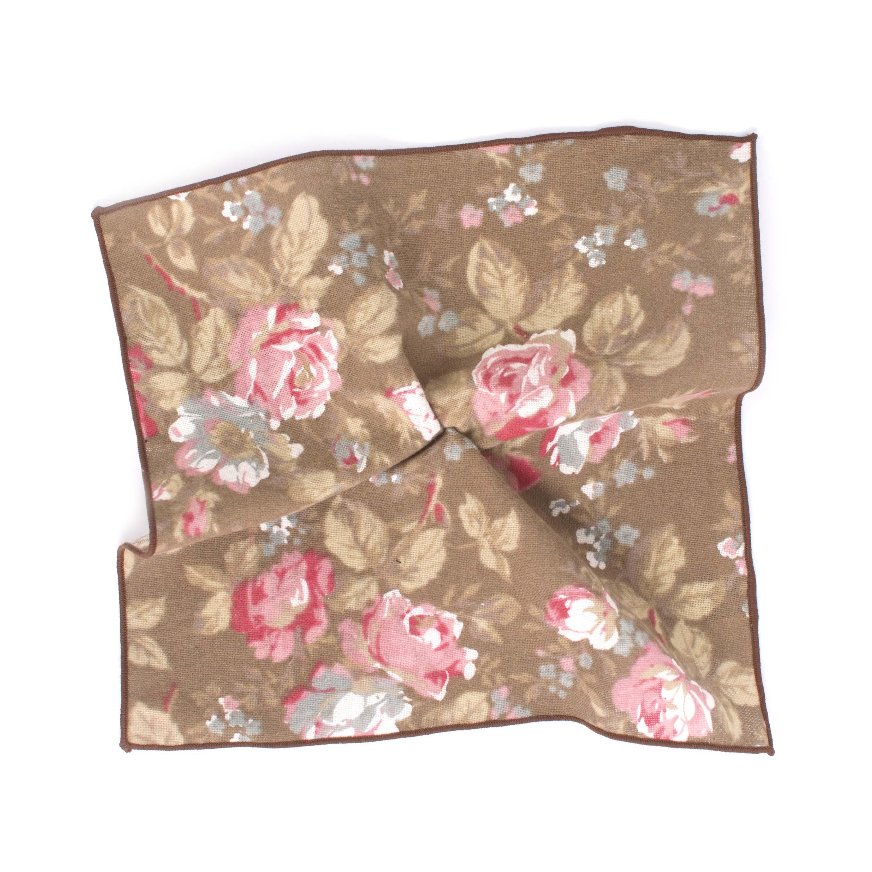 Pocket sqaure cotton bold flowered brown