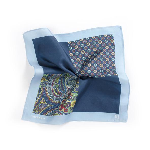 Pocket sqaure printed sky blue/blue made of silk