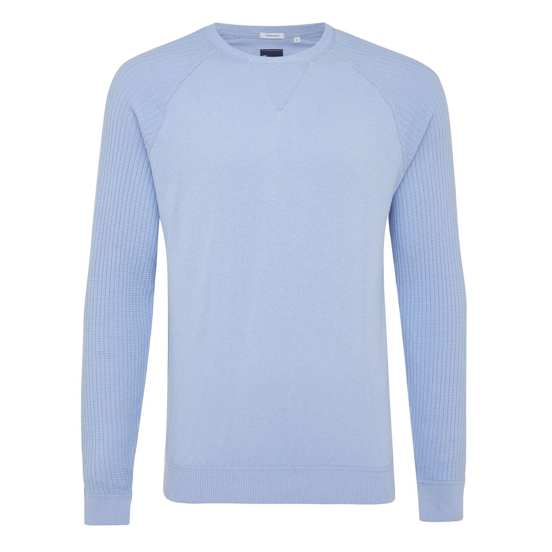 Magnus | Pullover rib sleeves light blue cotton/cashmere
