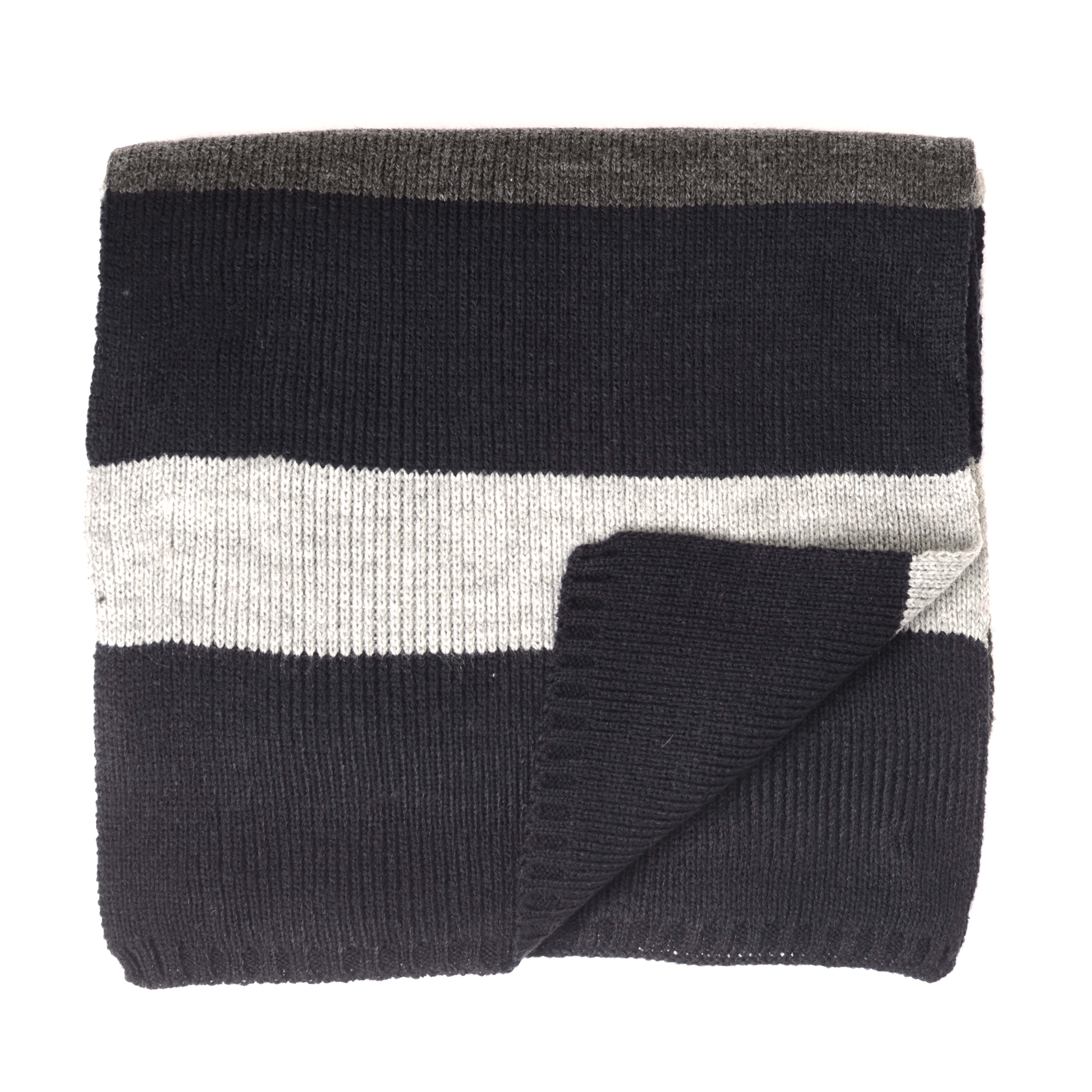 Jordi   Scarf knitted with blocks grey