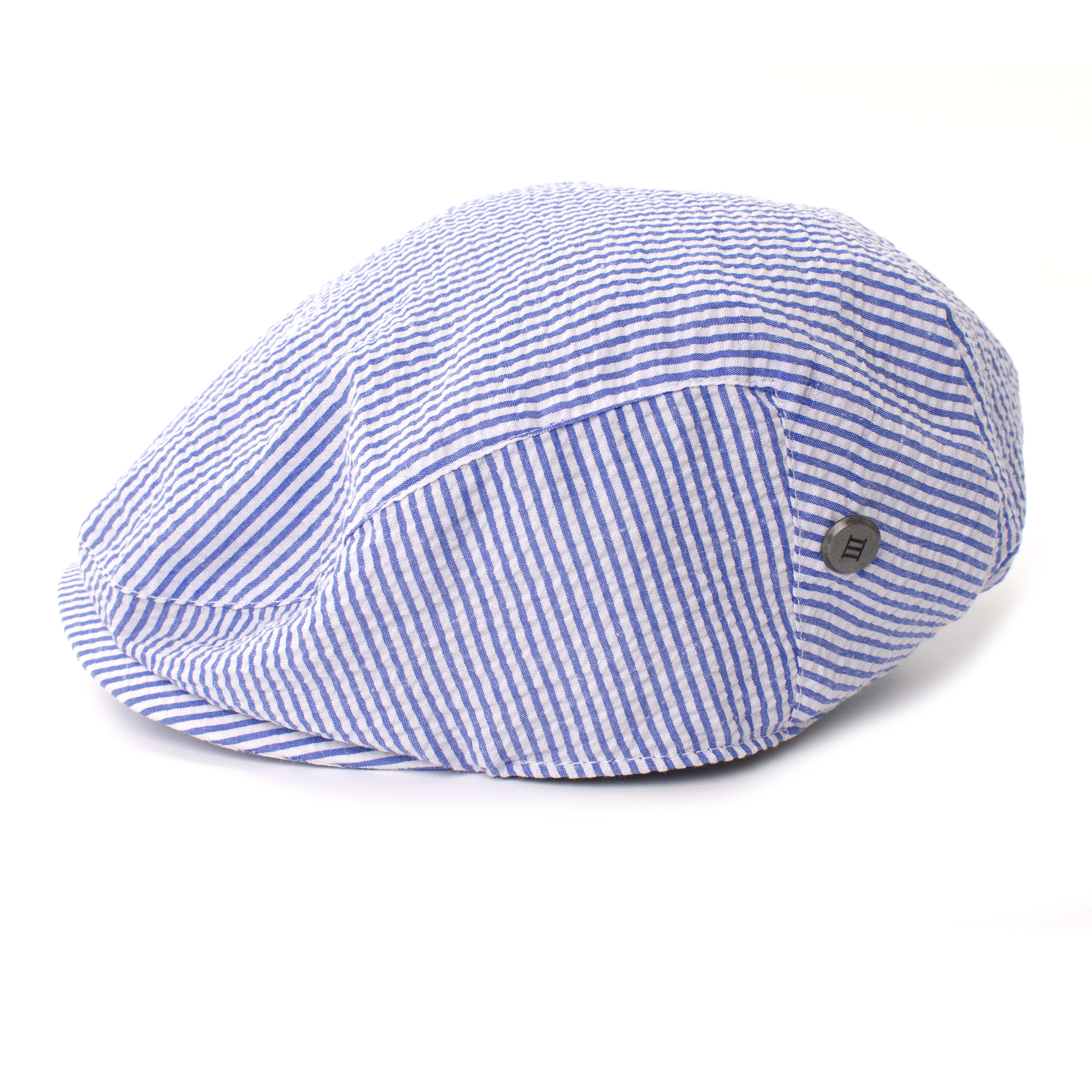 Tjesse   Flatcap seersukker blue stripe