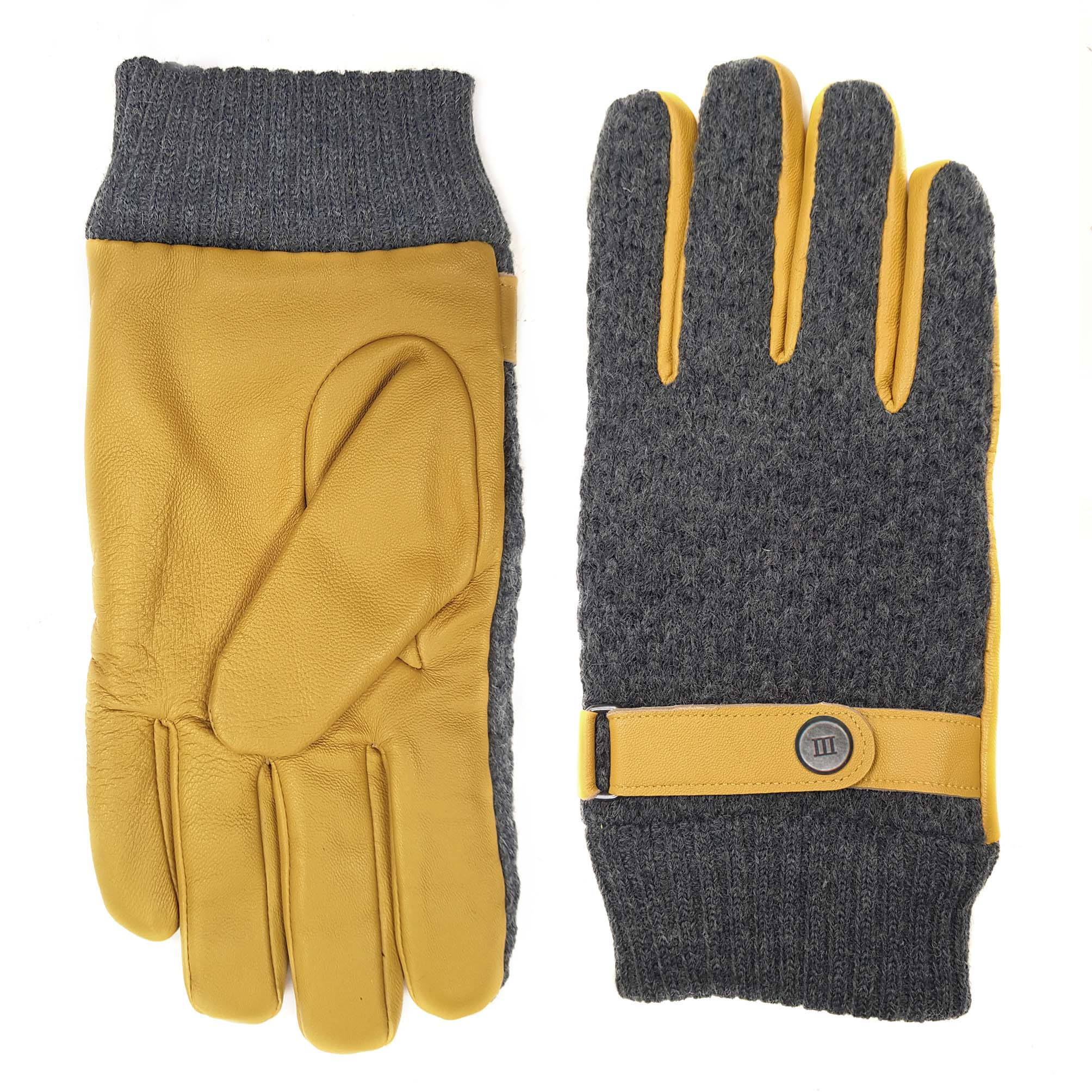 Jorian | Gloves knitted and leather ochre yellow