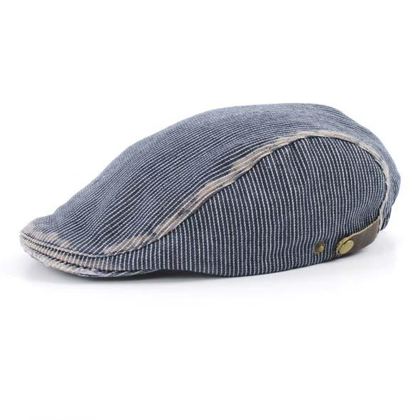 Flatcap, denim stripe