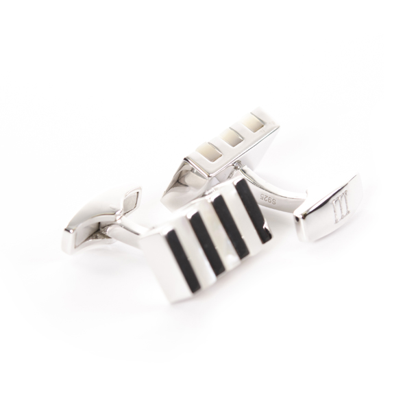 Cufflinks Sterling Silver with black Mother of Pearl inlay