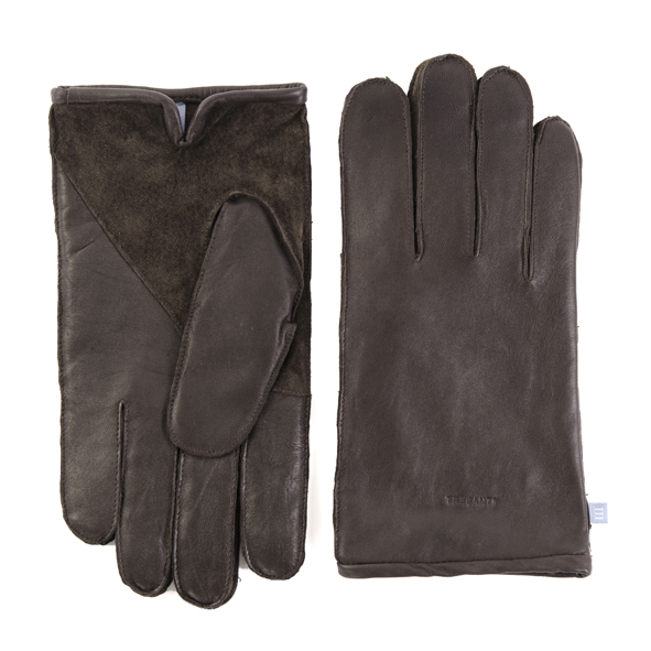 Gloves brown leather with suede