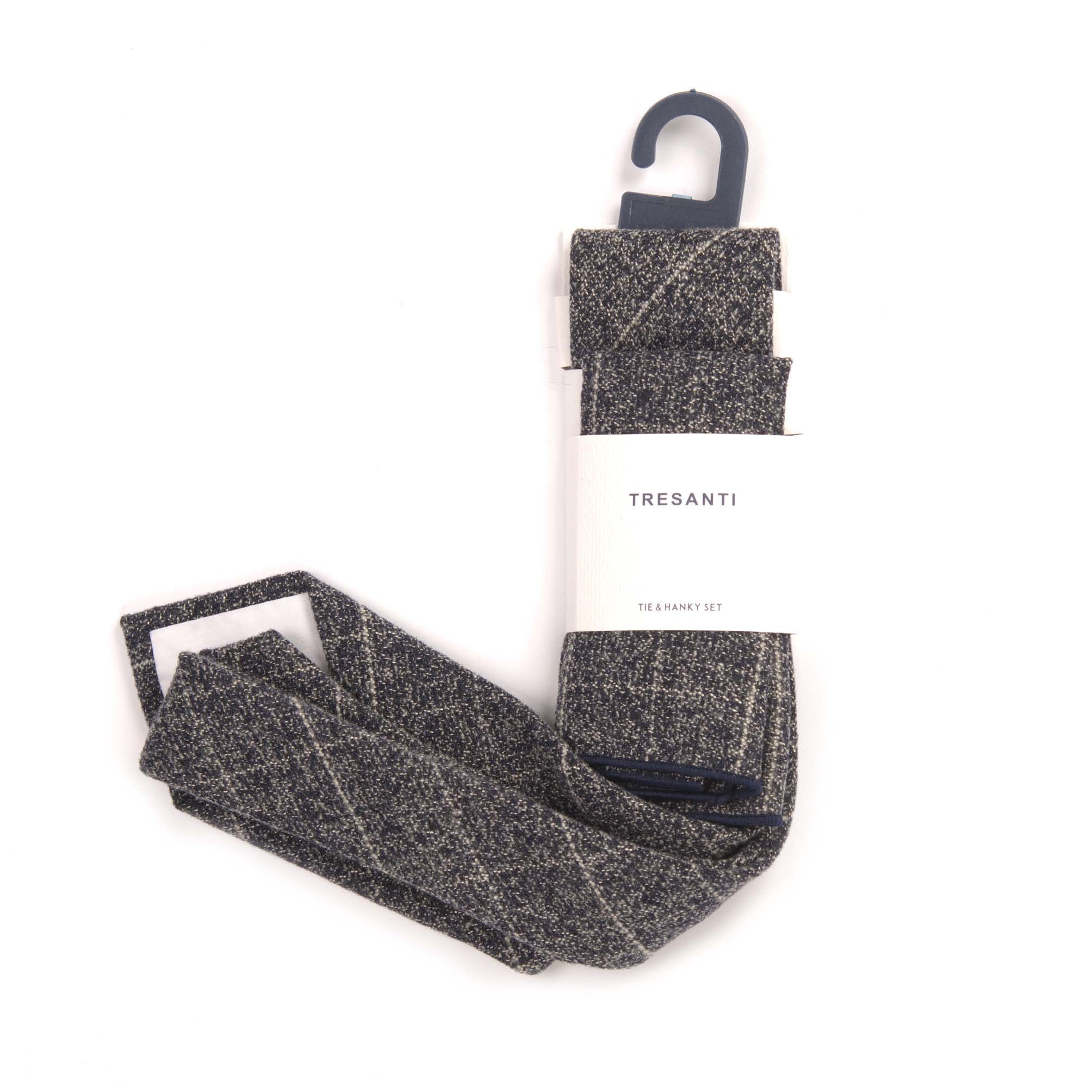 Tie & hanky set grey