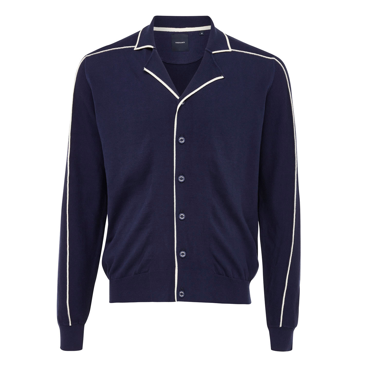 EMIL   Button-through pullover with side stripe relief navy