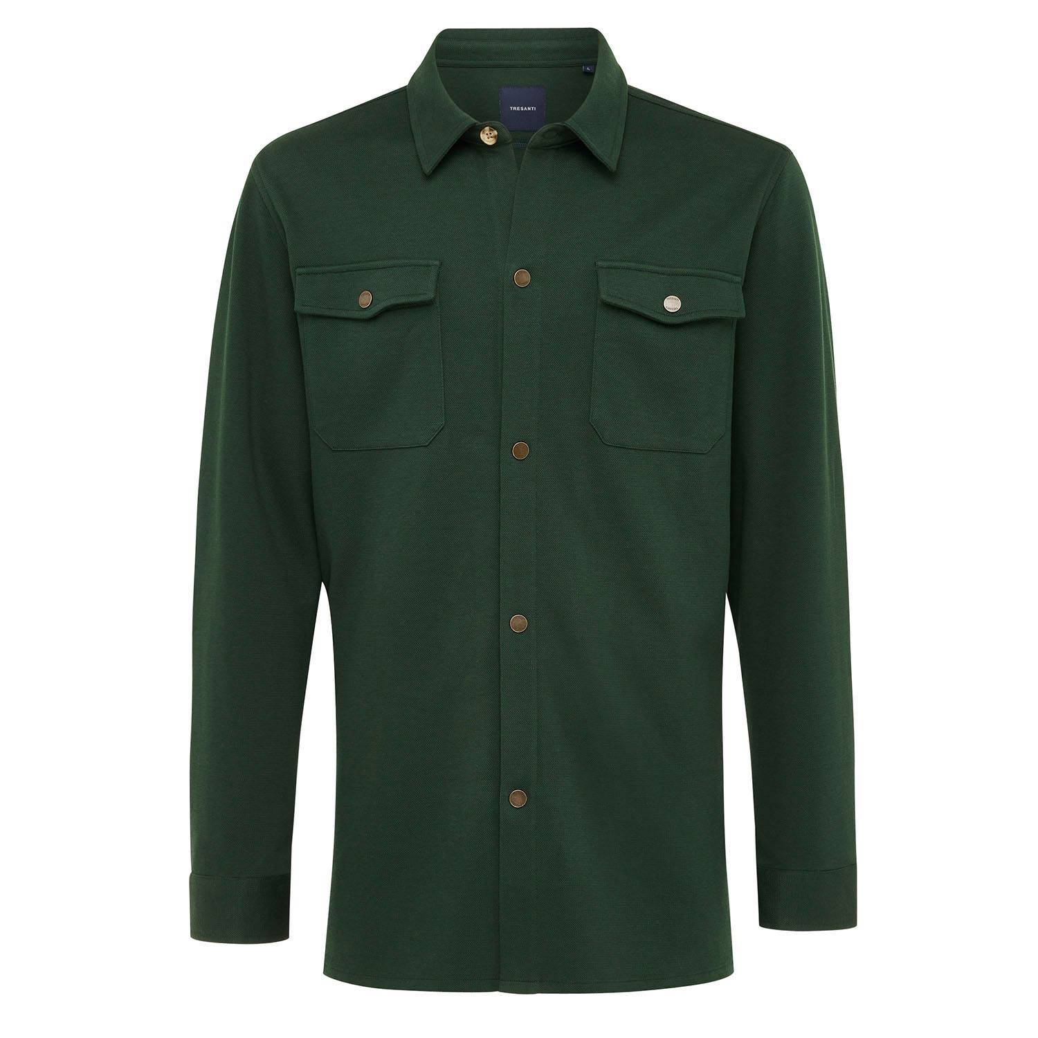 ELEVEN | Jersey overshirt with button closure green