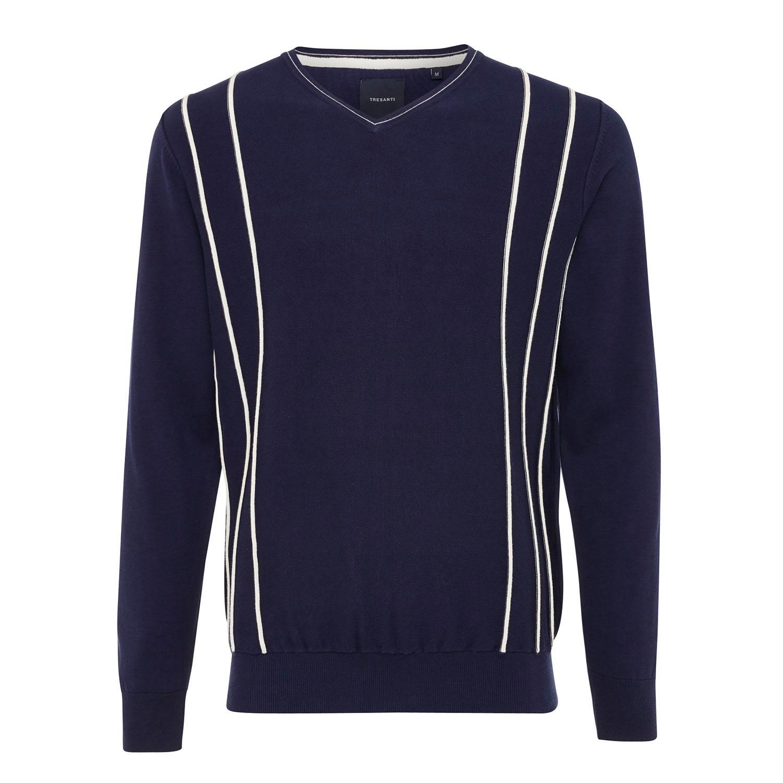 EDEN   V-Neck pullover with stripe relief navy
