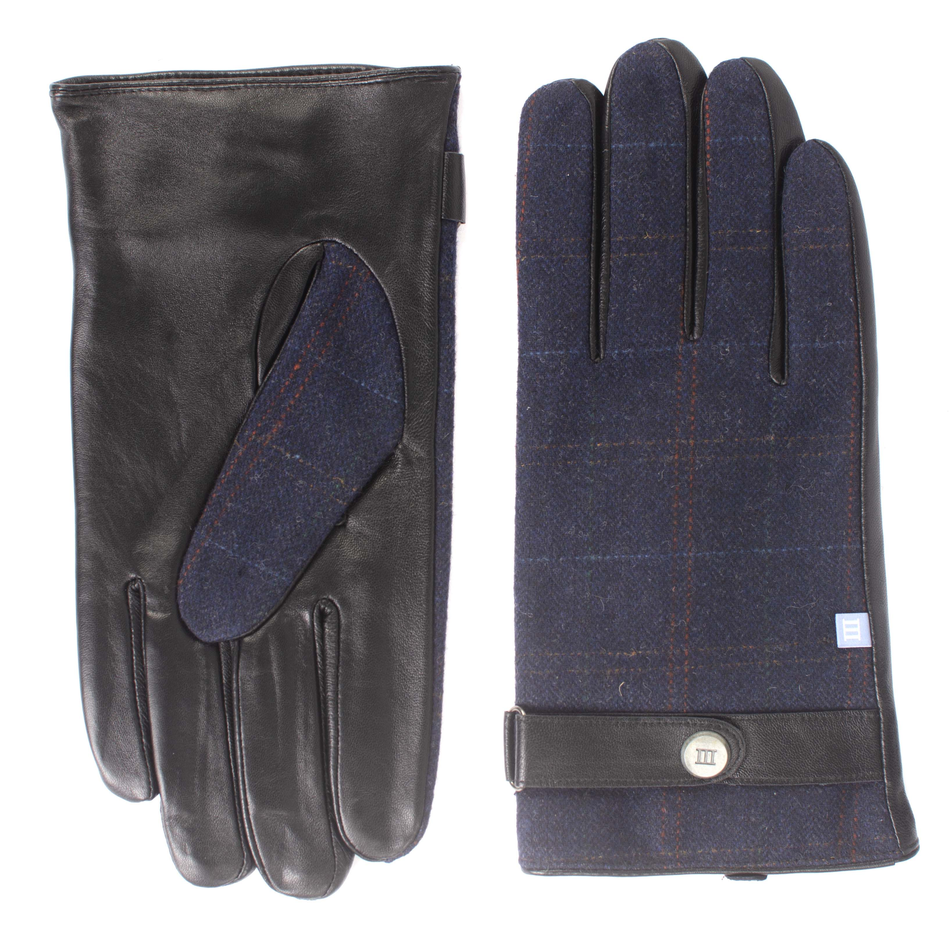 Jopp   Gloves black leather with checked pinstripe