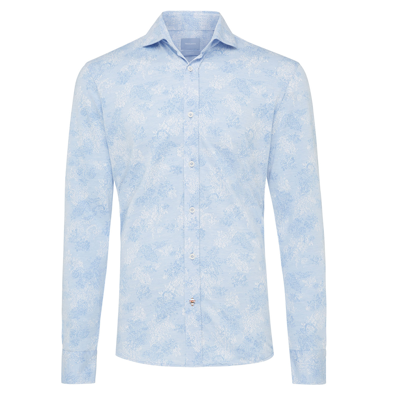 Melle | Knitted shirt light blue