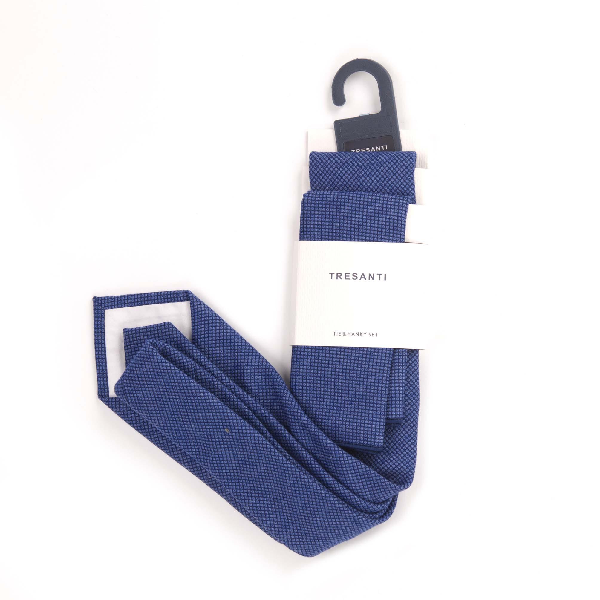 Tie & hanky set blue with mini dots