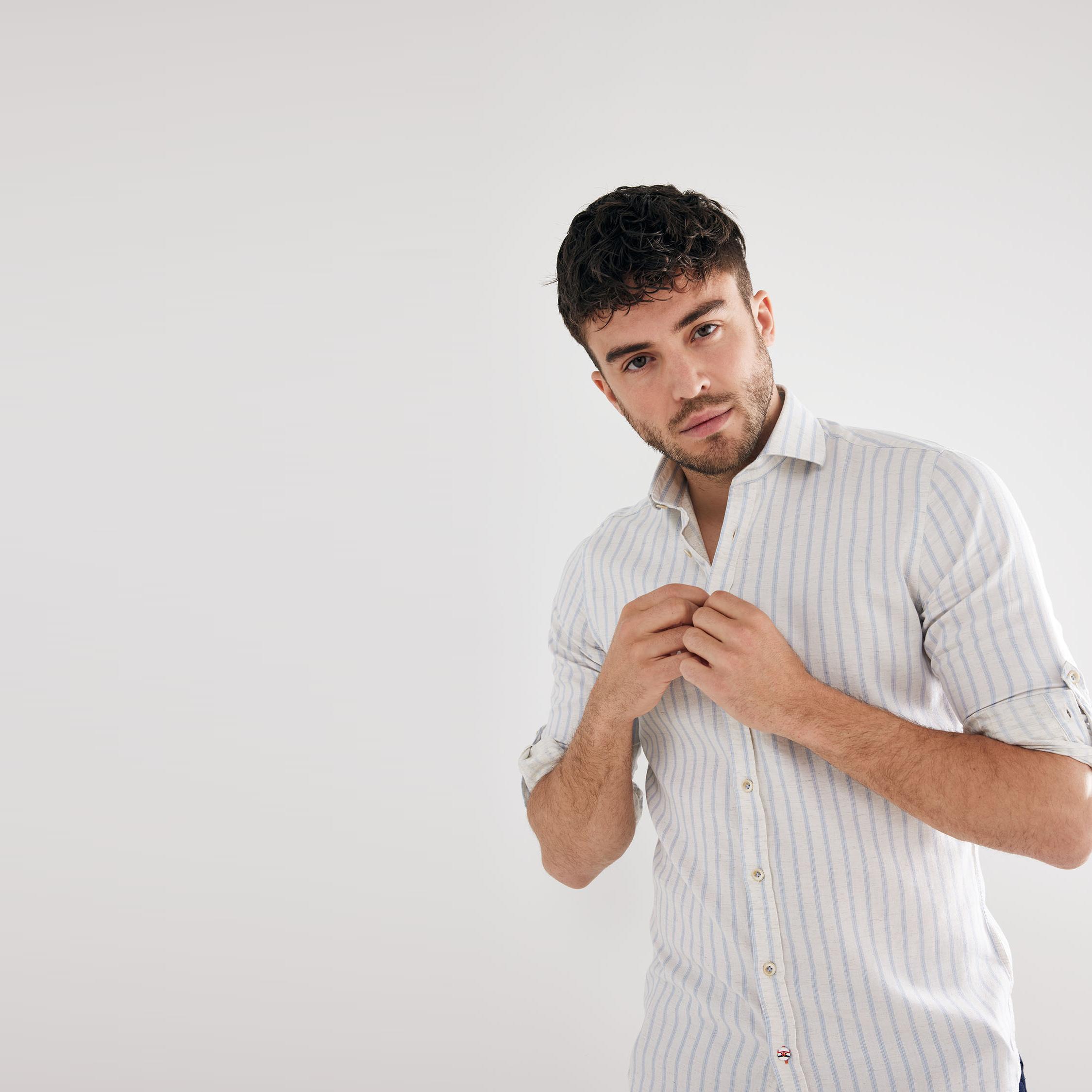 Moos | Shirt vertical stripe light blue