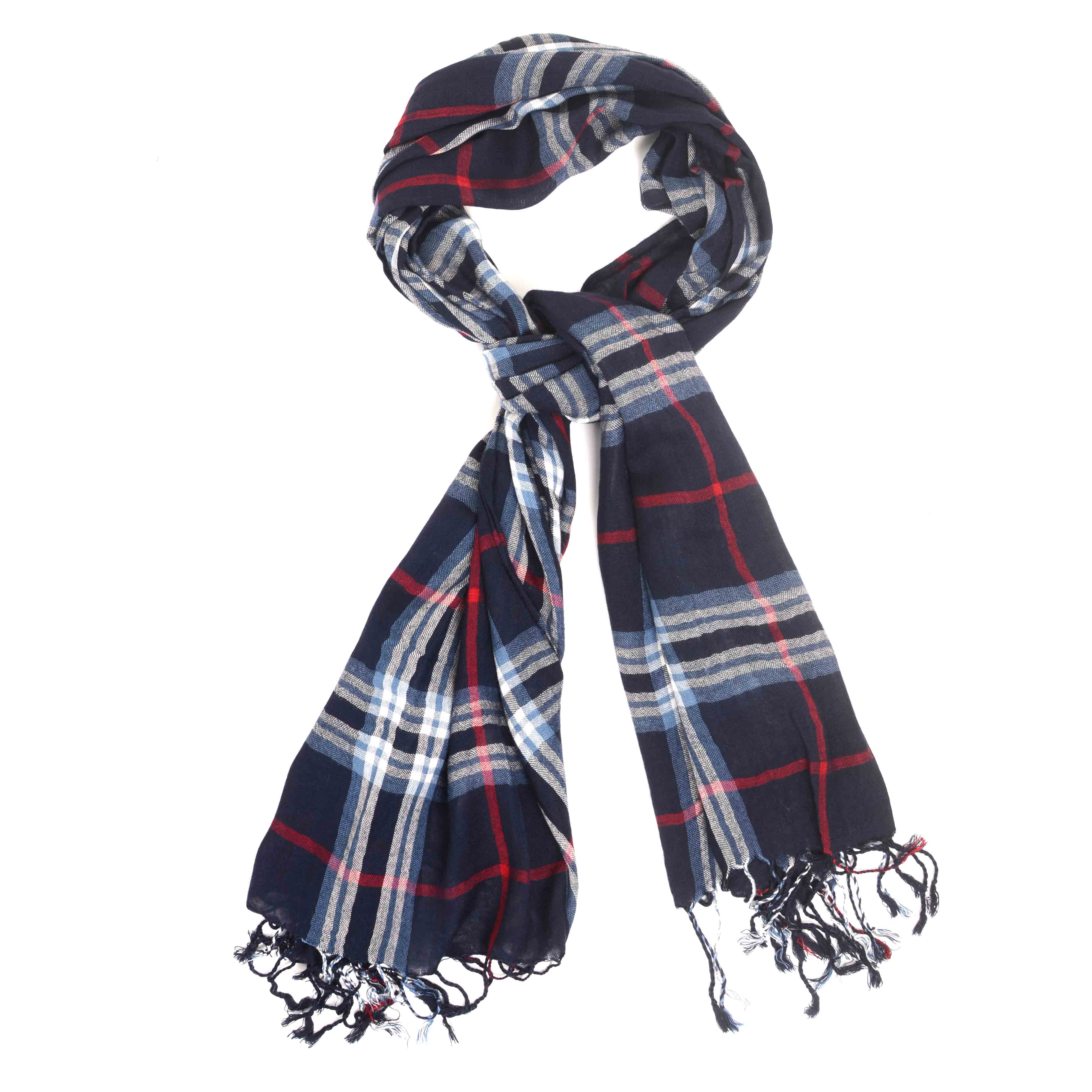 Mathieu   Scarf in navy with light blue accents in the check pattern