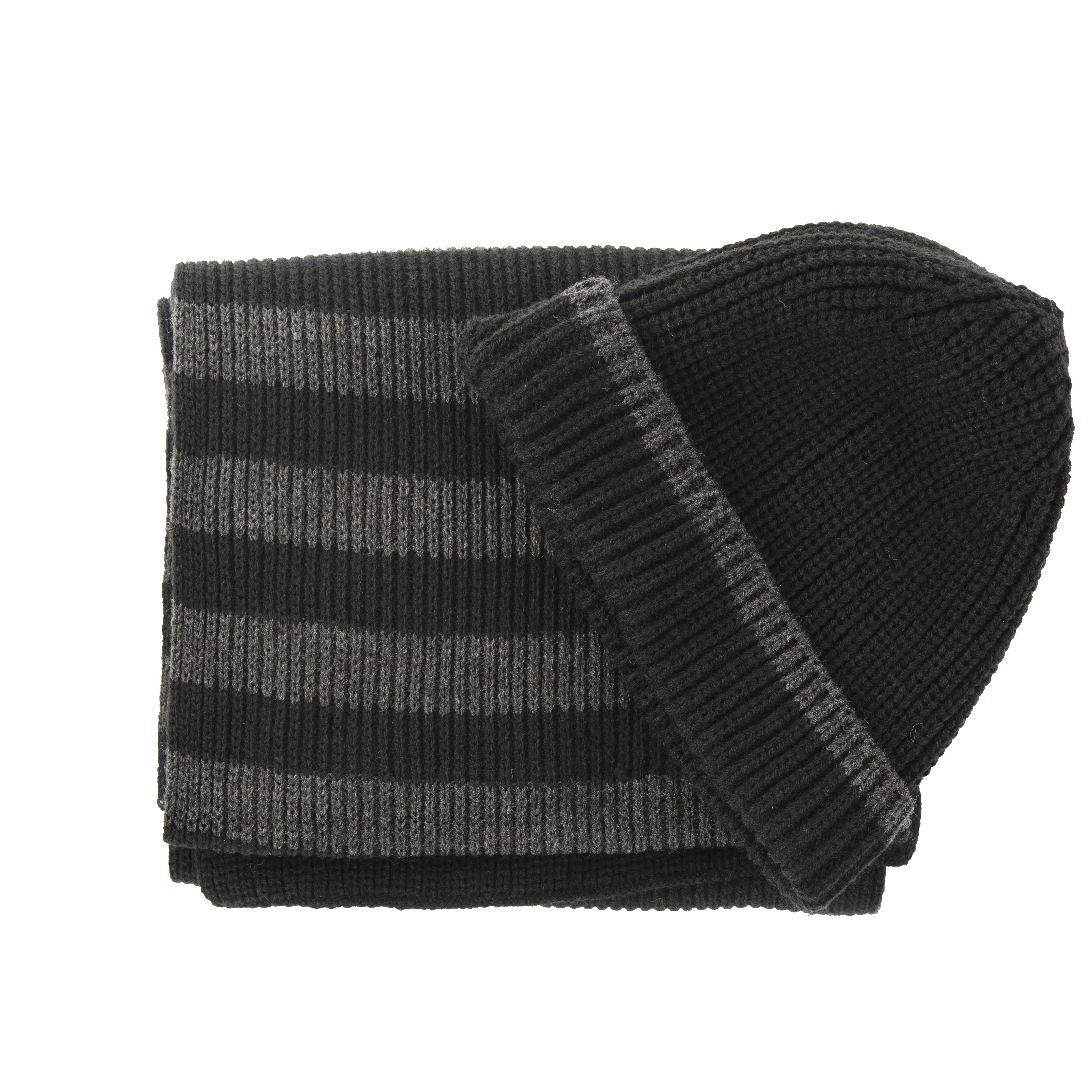Scarve & beanie set black/grey