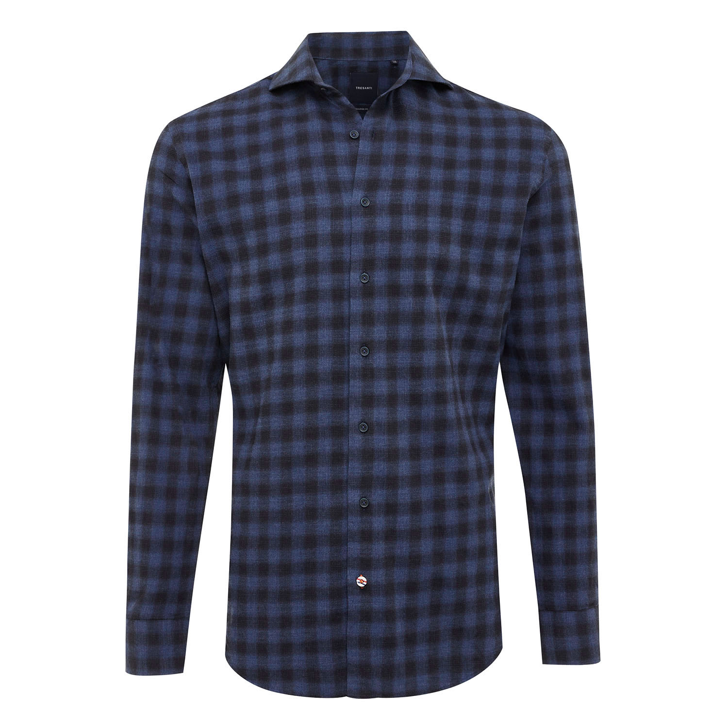 ELWYN | Shirt with button closure, navy with structure