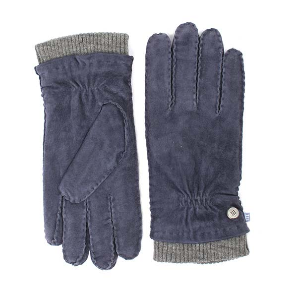 Gloves navy suede with knitted cuff