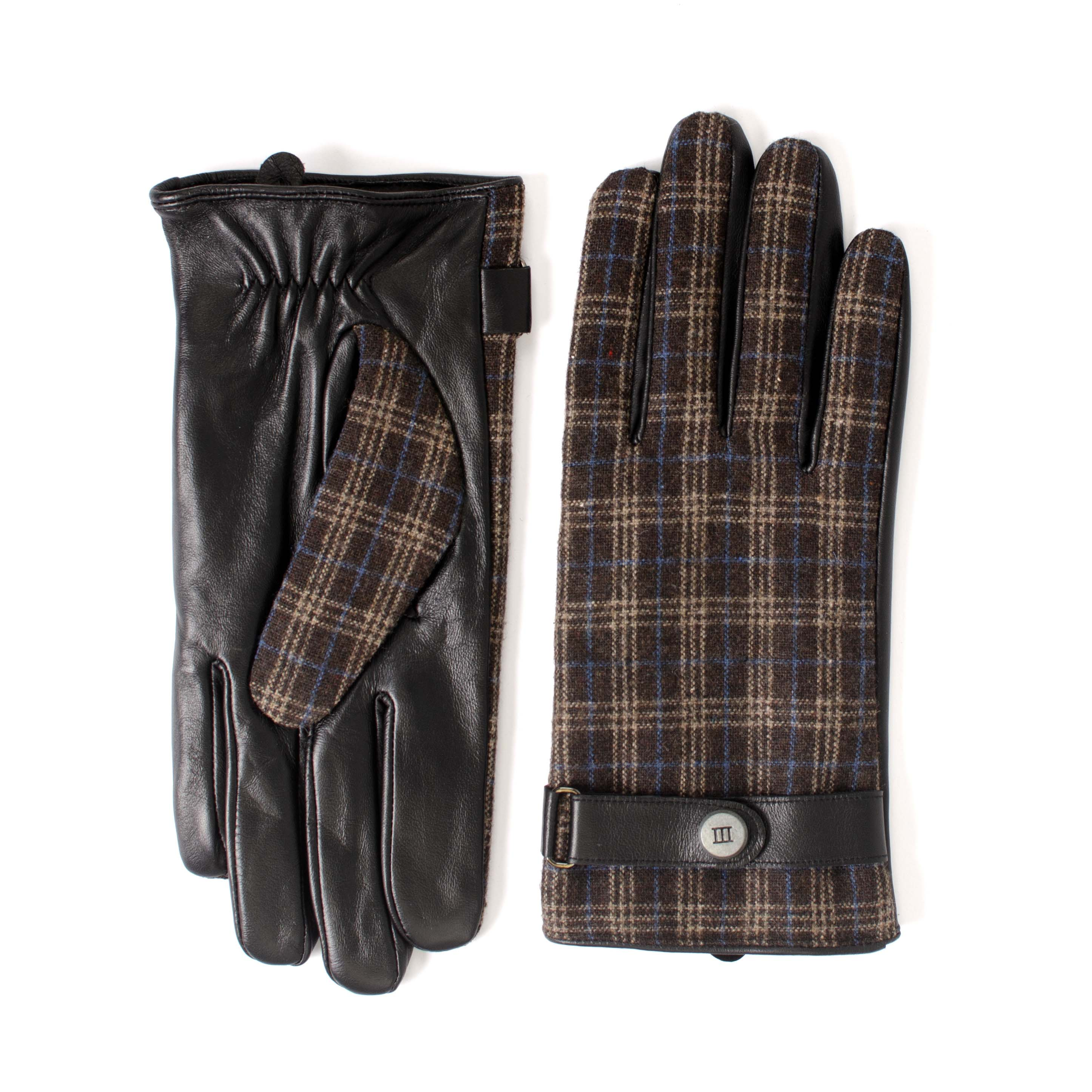 Jurn | Gloves black leather  with checked part
