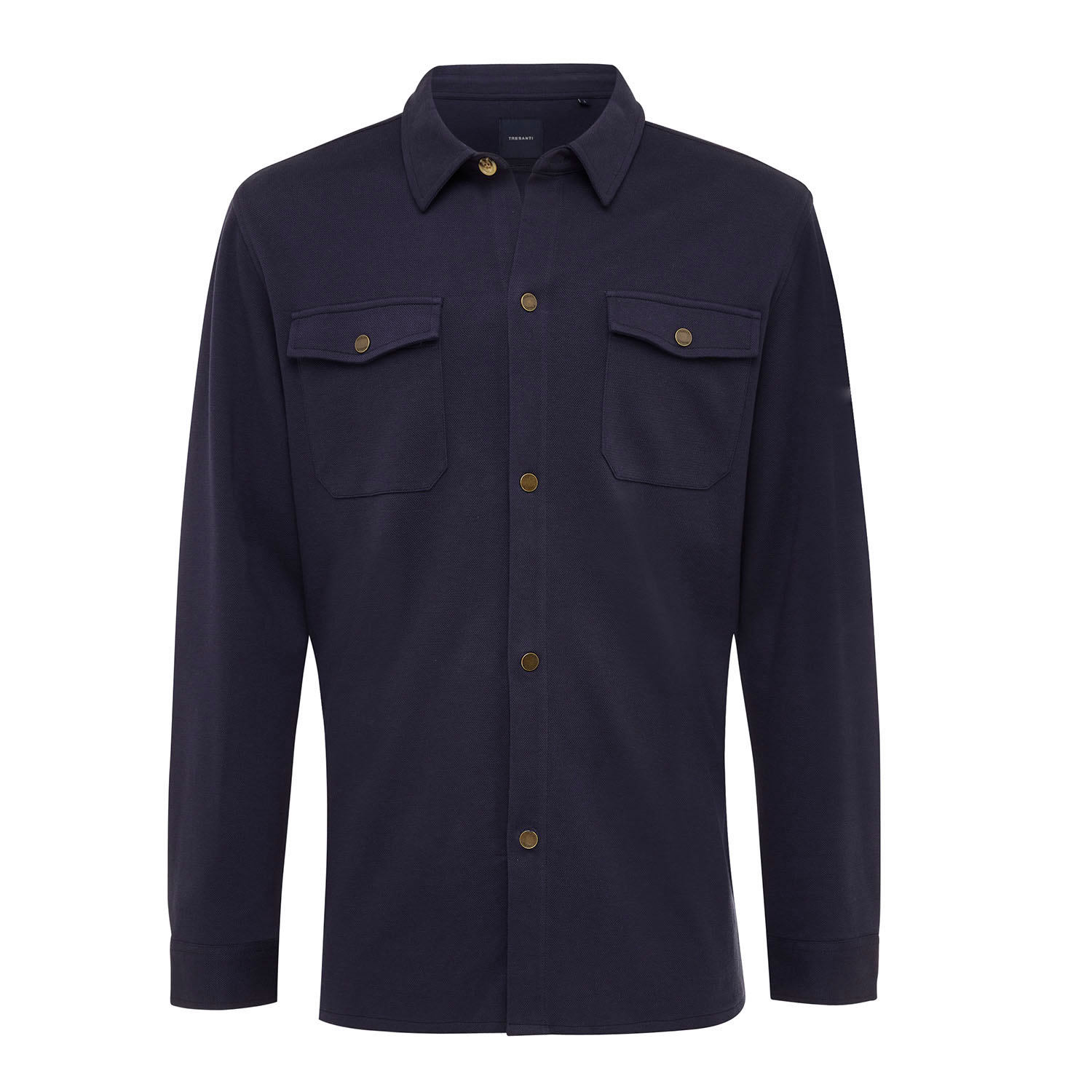 ELEVEN | Jersey overshirt with button closure navy
