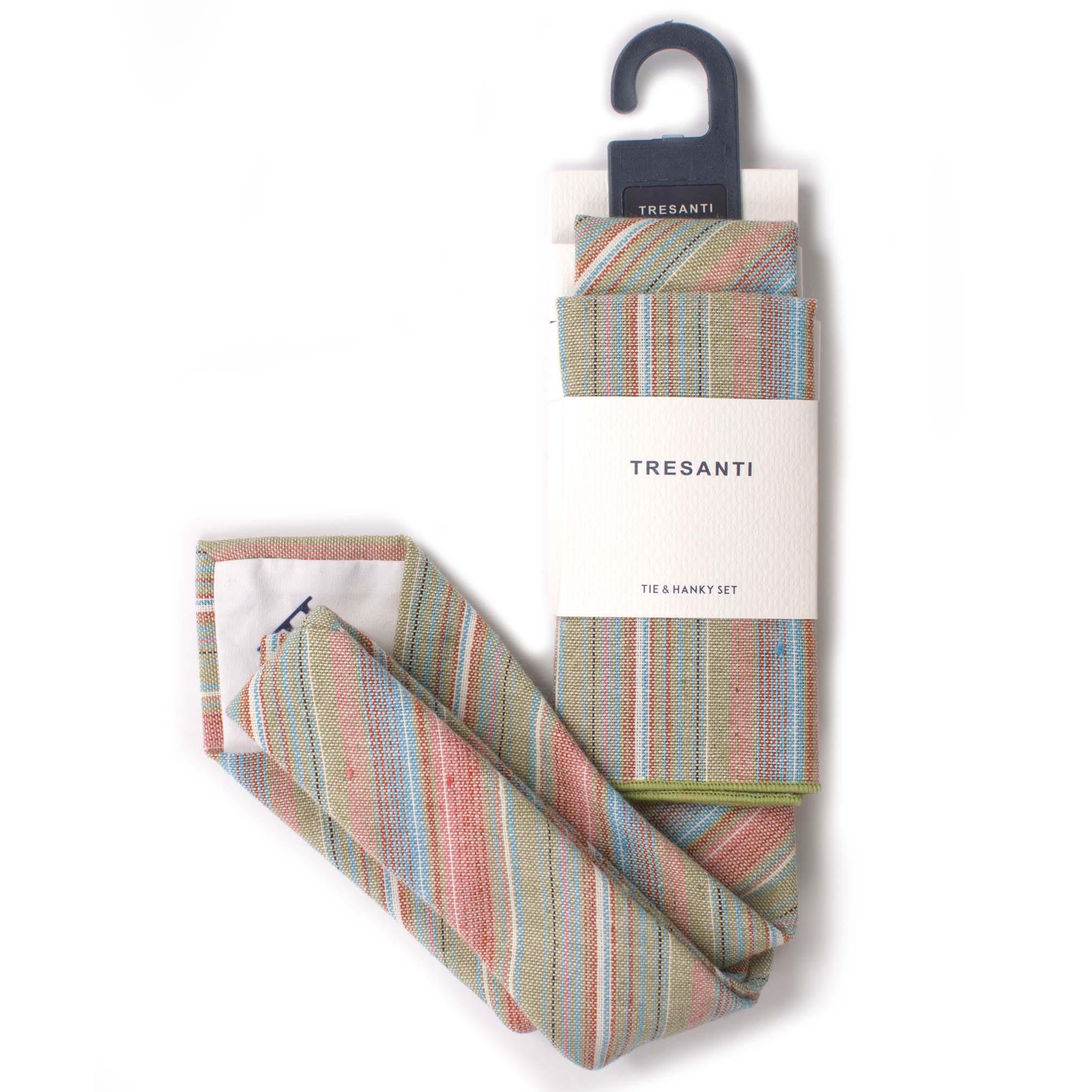 Tie & hanky set linen stripes