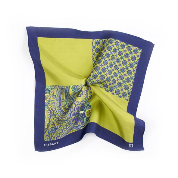 Pocket sqaure printed navy/green made of silk