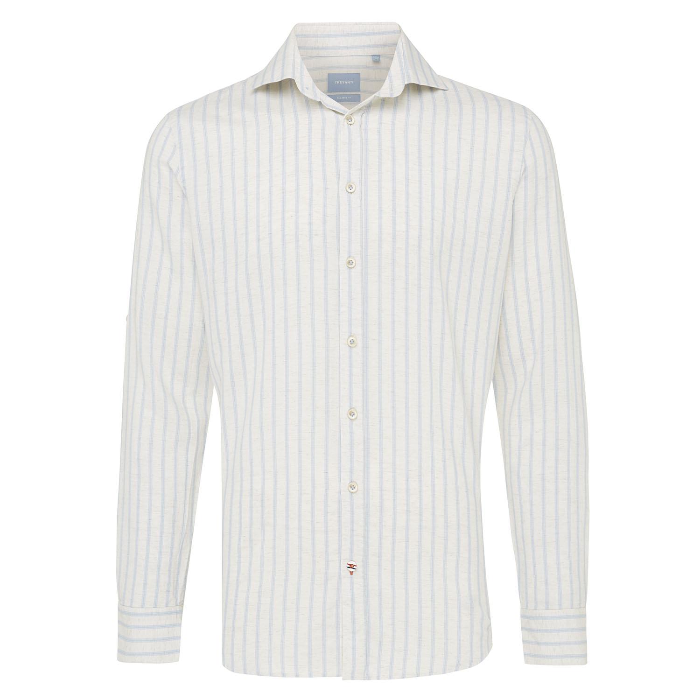 Moos   Shirt vertical stripe light blue