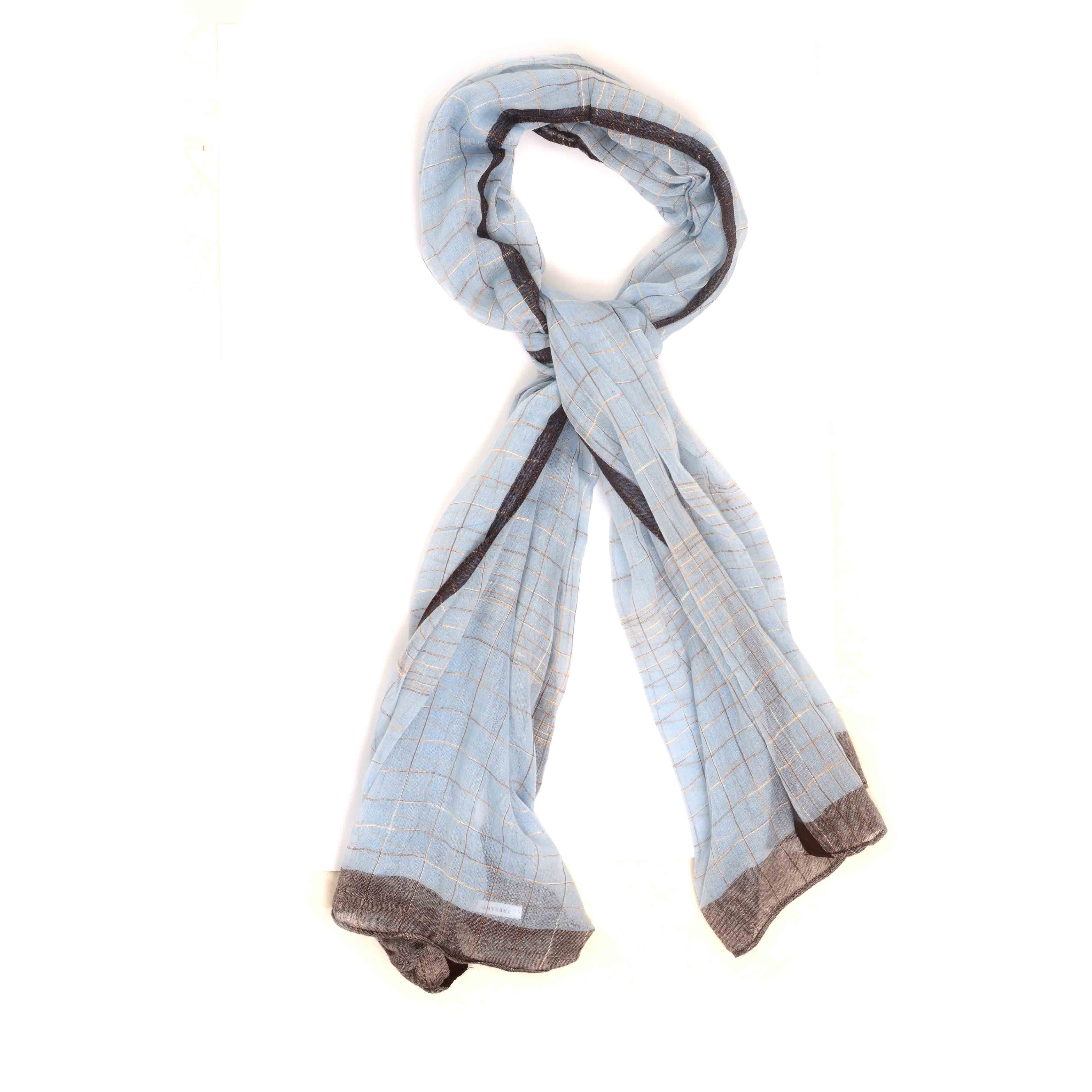 Matin   Scarf with grey ends light blue