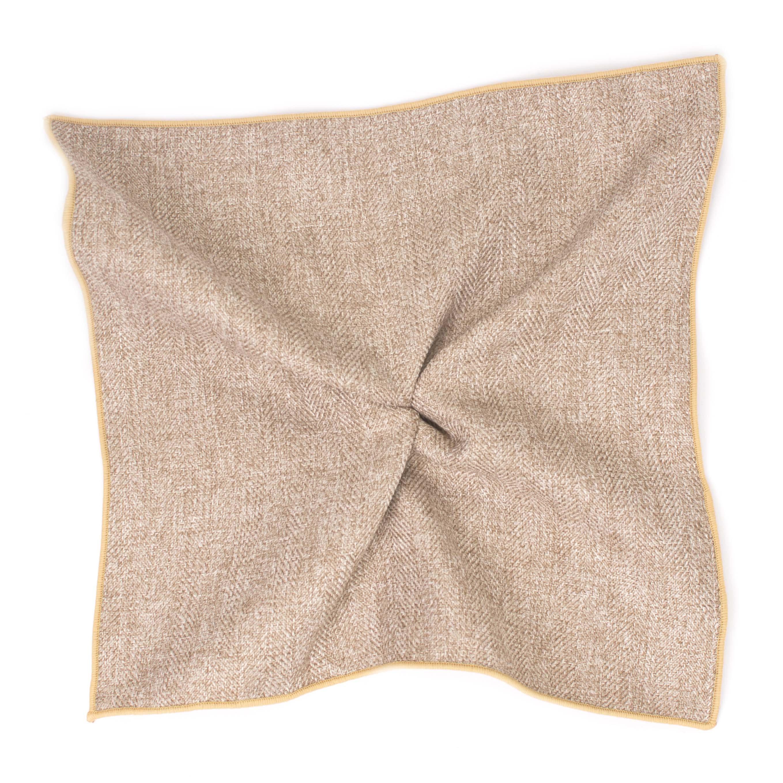 Pocket sqaure brown Herringbone cotton