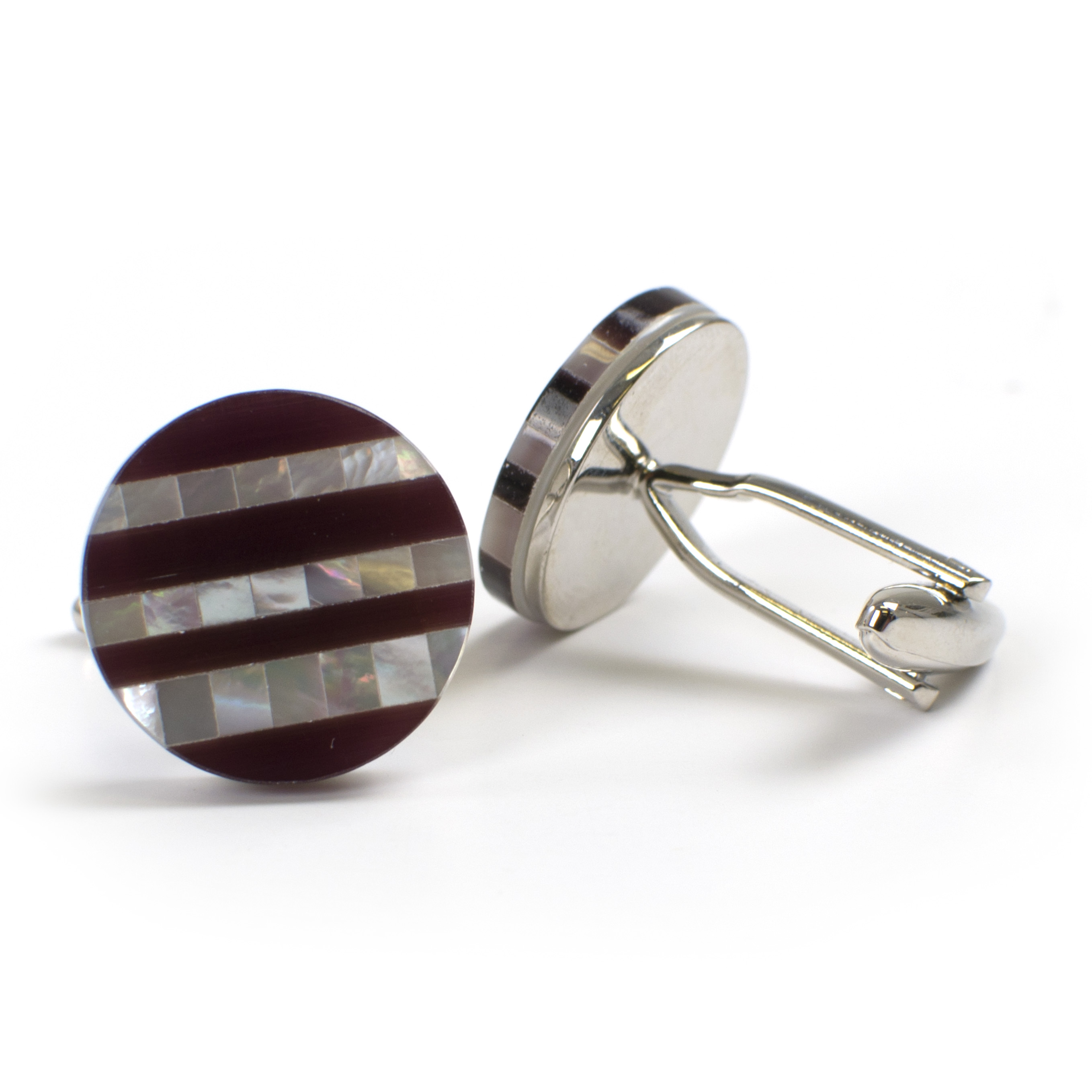 Cufflinks with Mother of Pearl and purple cats eye