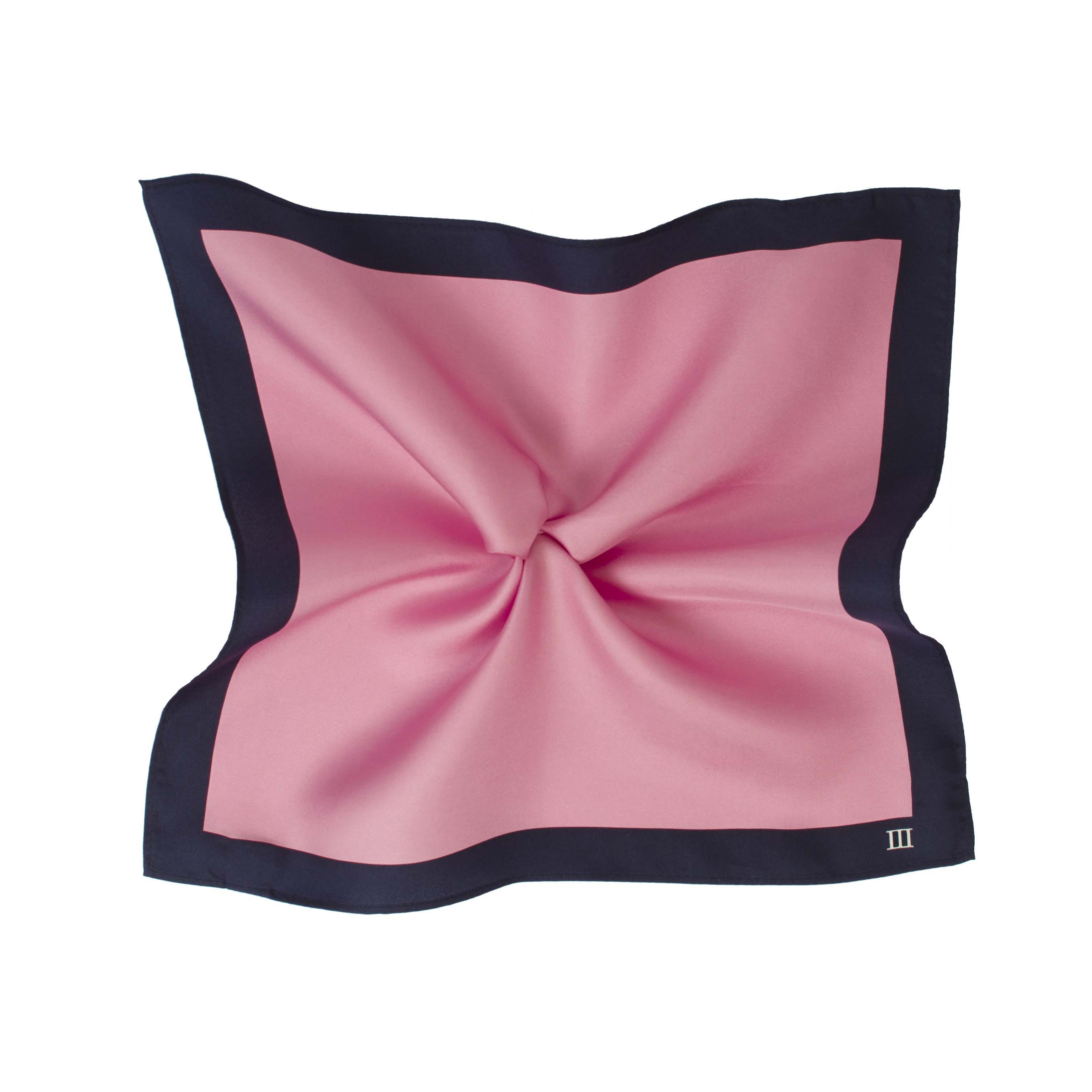 Pocket sqaure pink with navy border made of silk