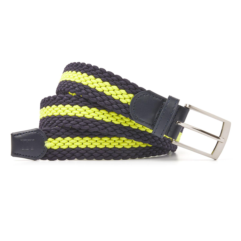 Mees | Belt braided navy/bright yellow