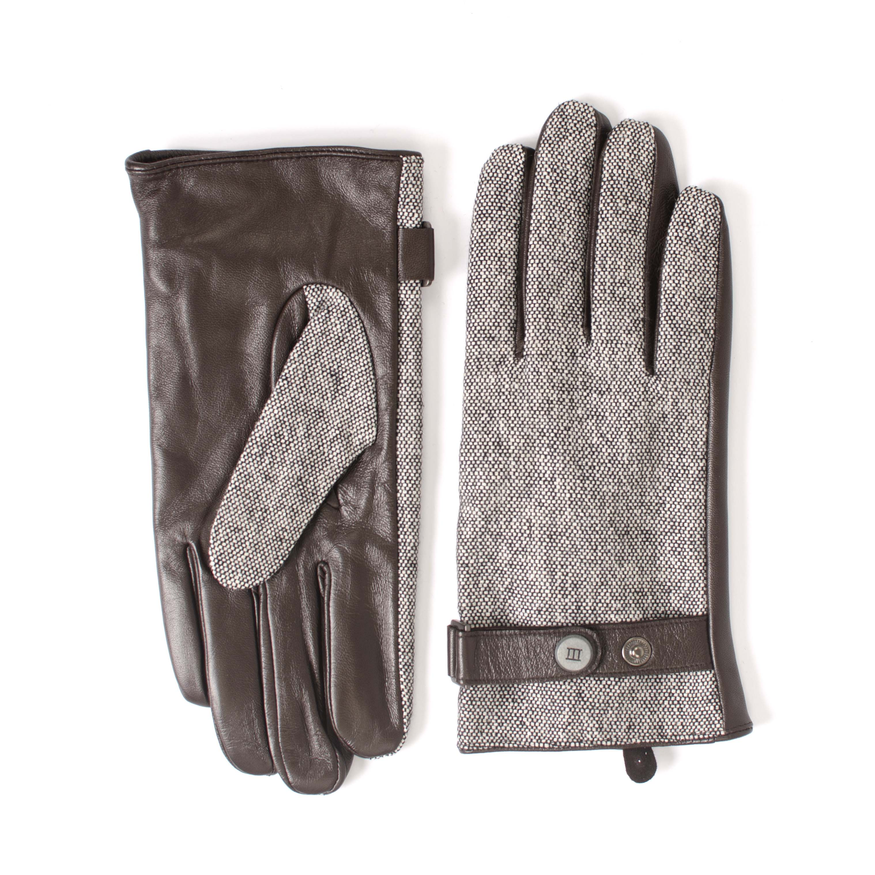 Jowen | Gloves brown leather with woven part