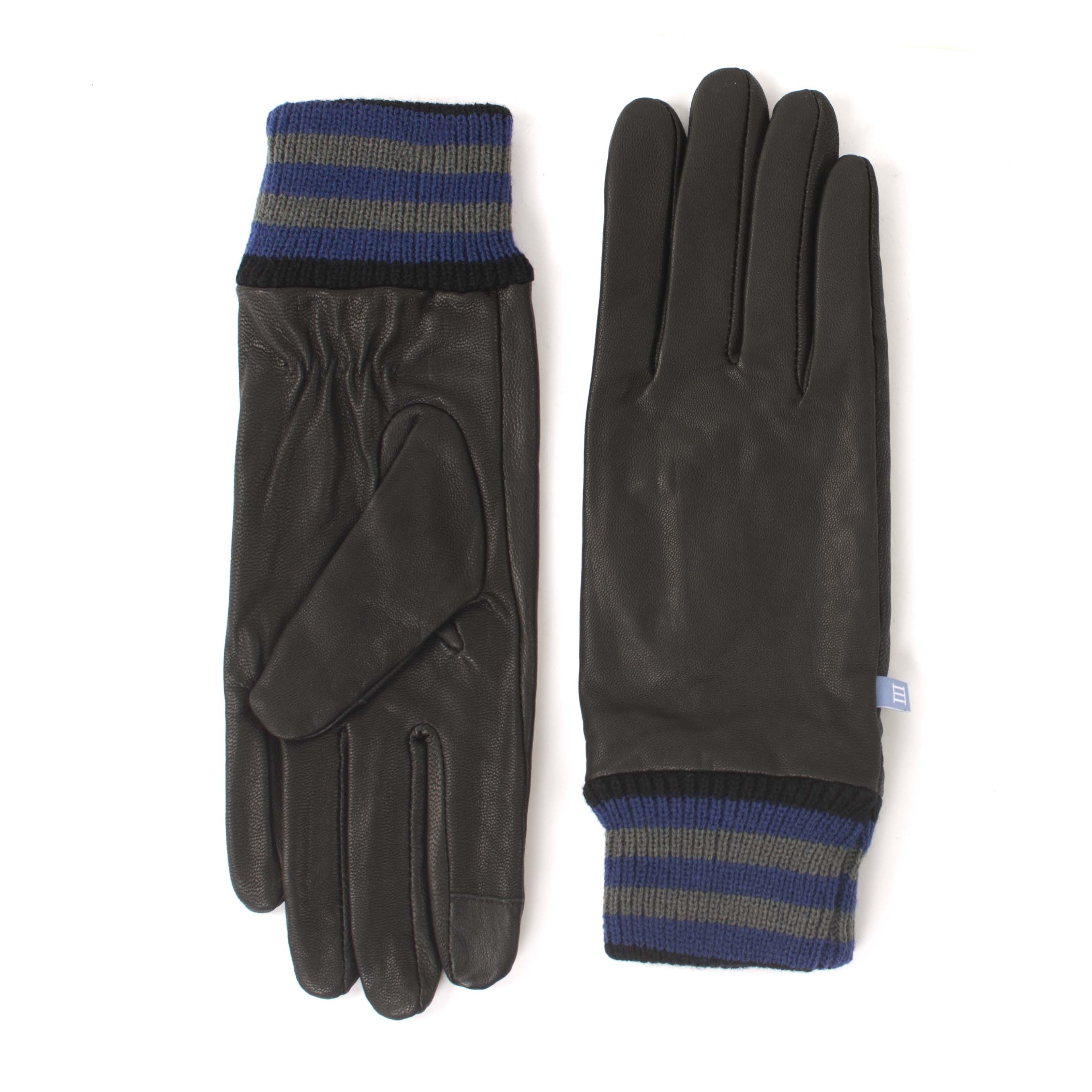 Gloves black with striped cuff and touchscreen fingertips