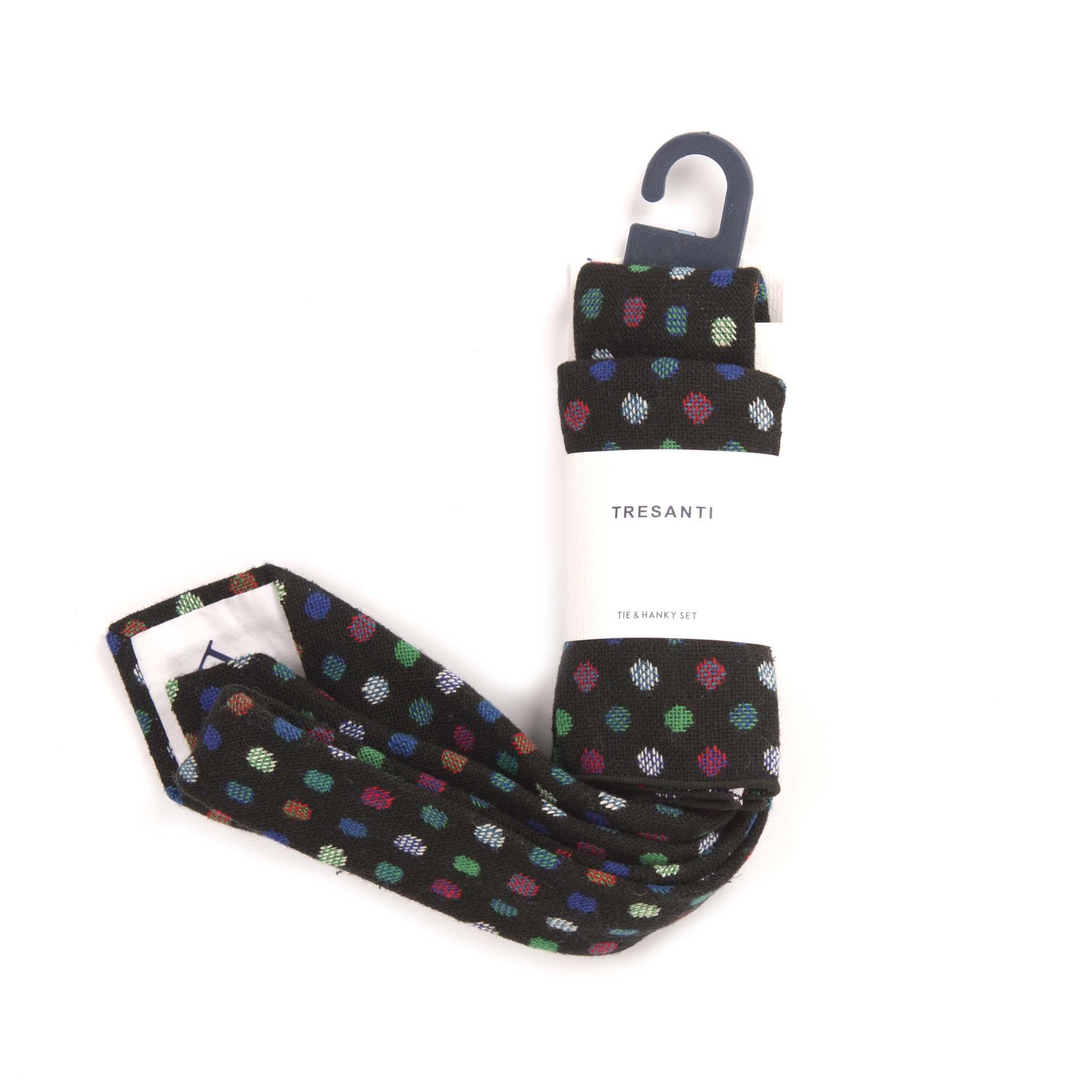 Tie & hanky set grey with multicolour dots
