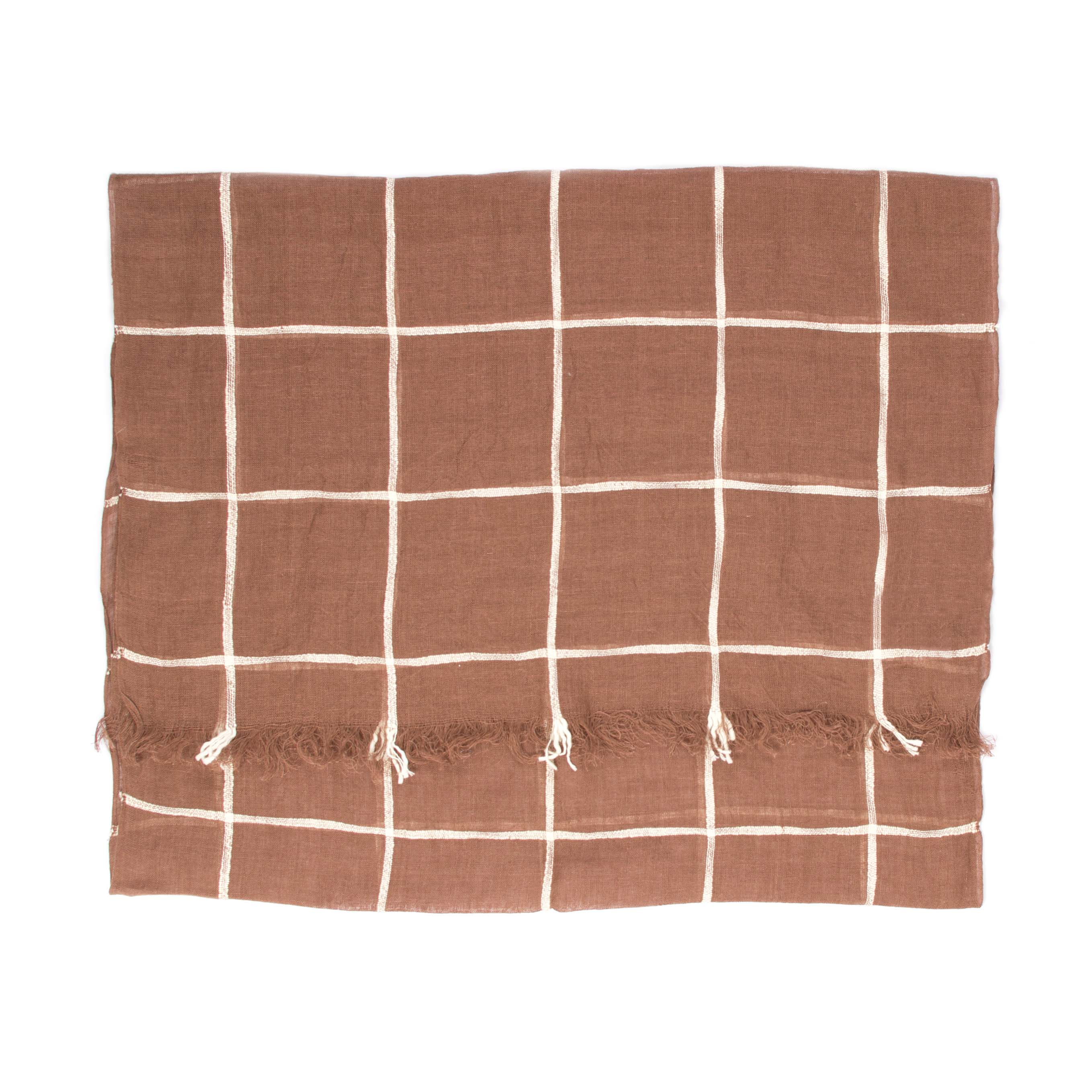 Scarf brown checked linen