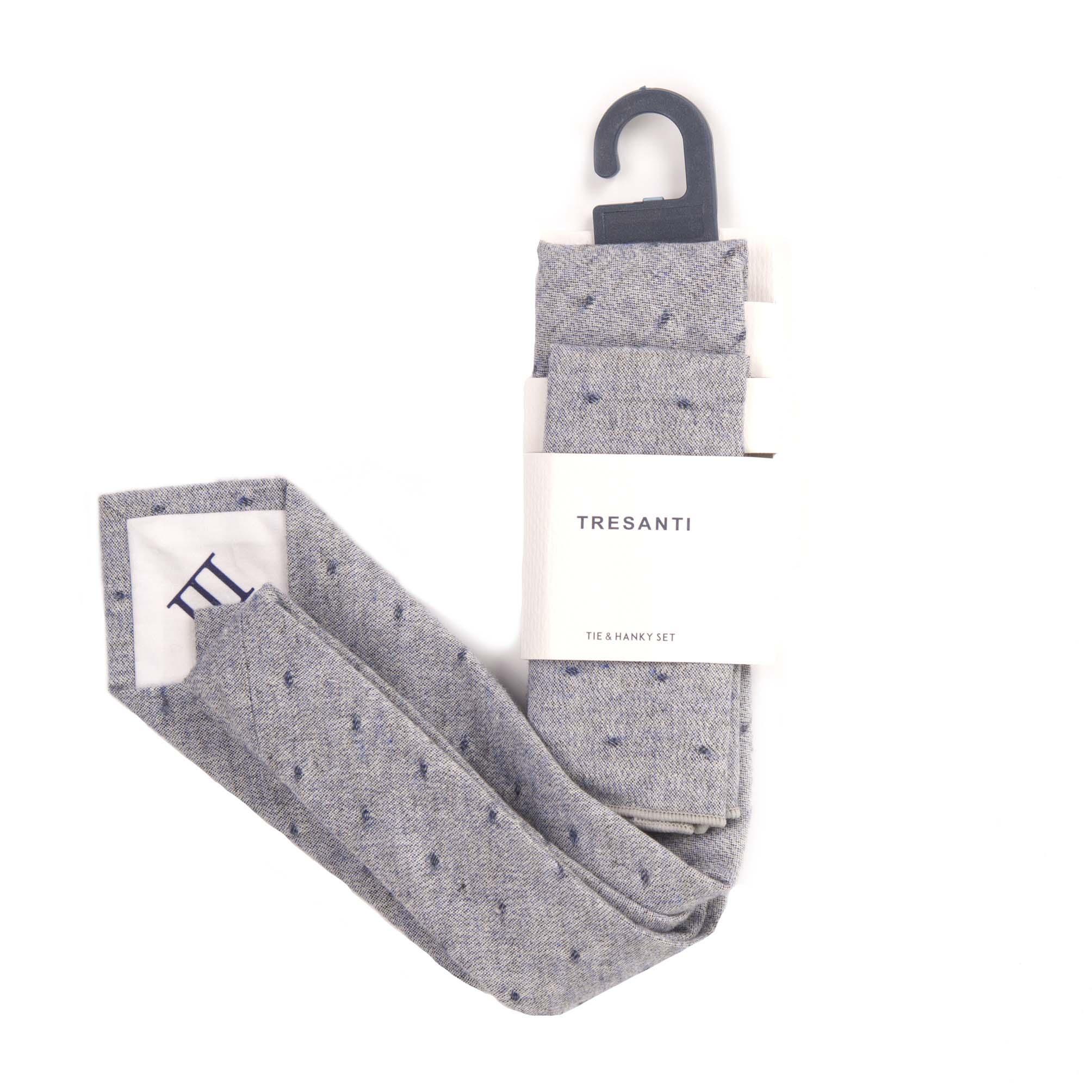 Tie & hanky set light grey with dots