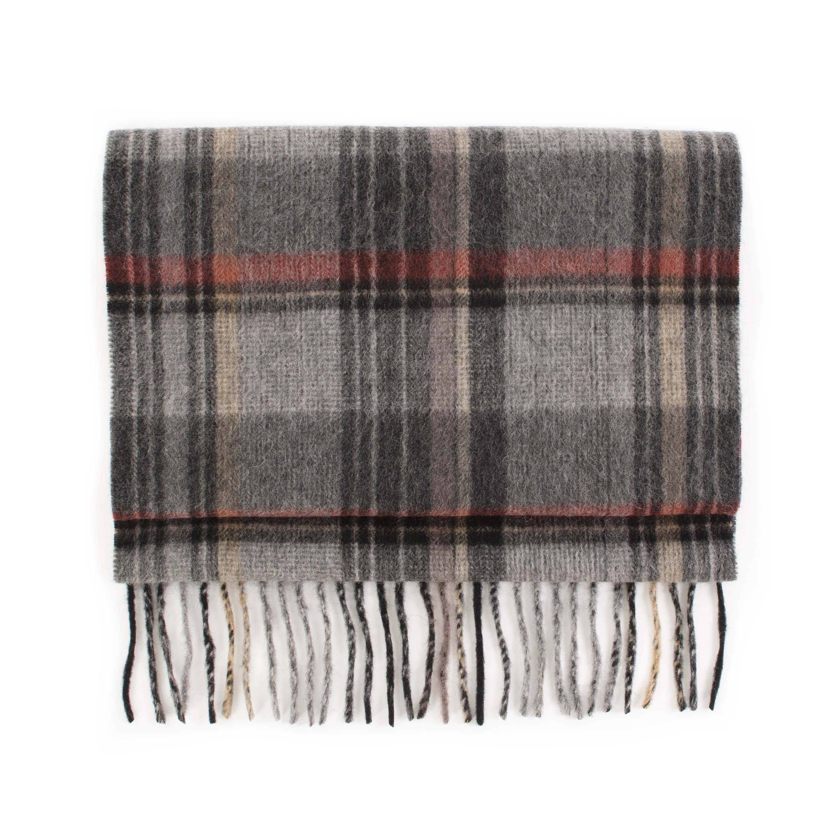 Scarf cashmere check, grey, red