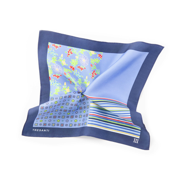 Pocket square printed navy/light blue made of silk