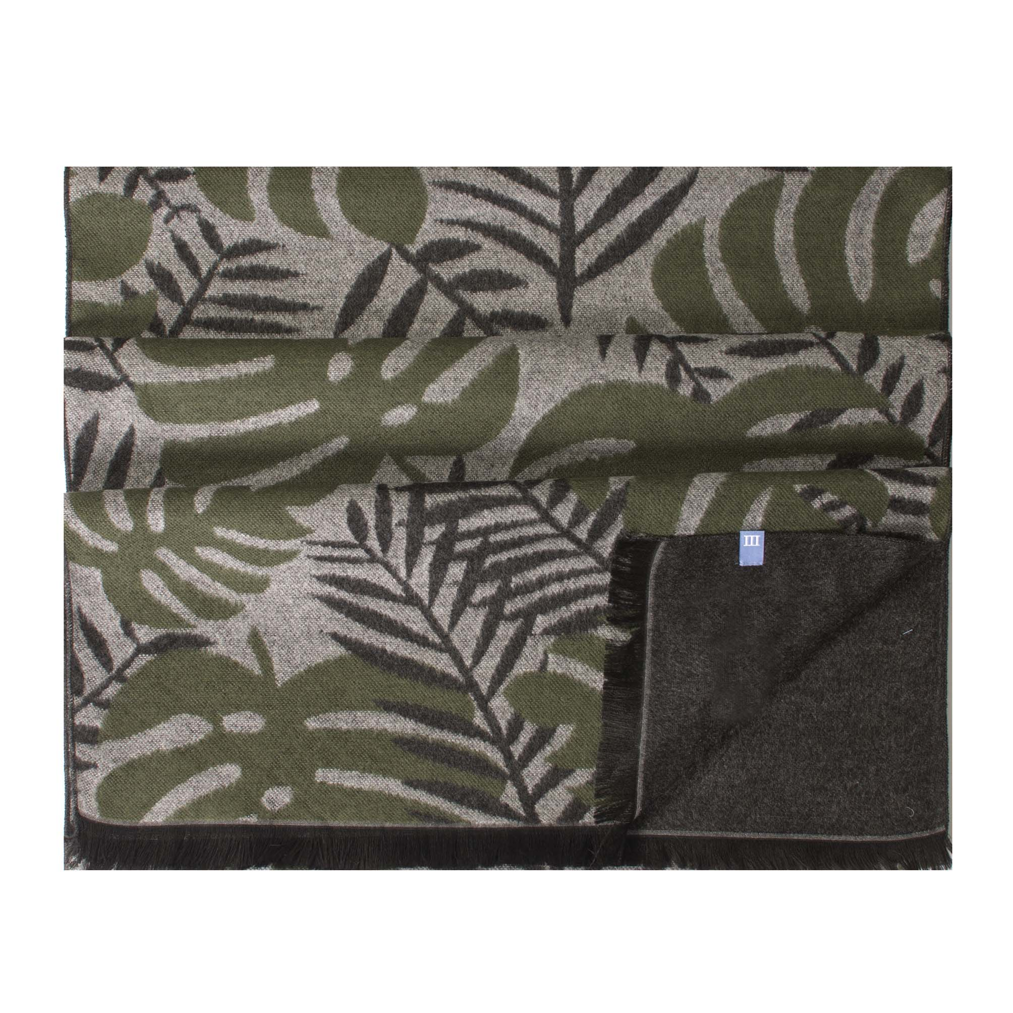 Scarf viscose double face, large leaves