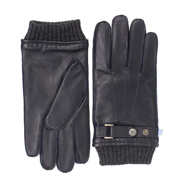 Gloves knitted cuff navy