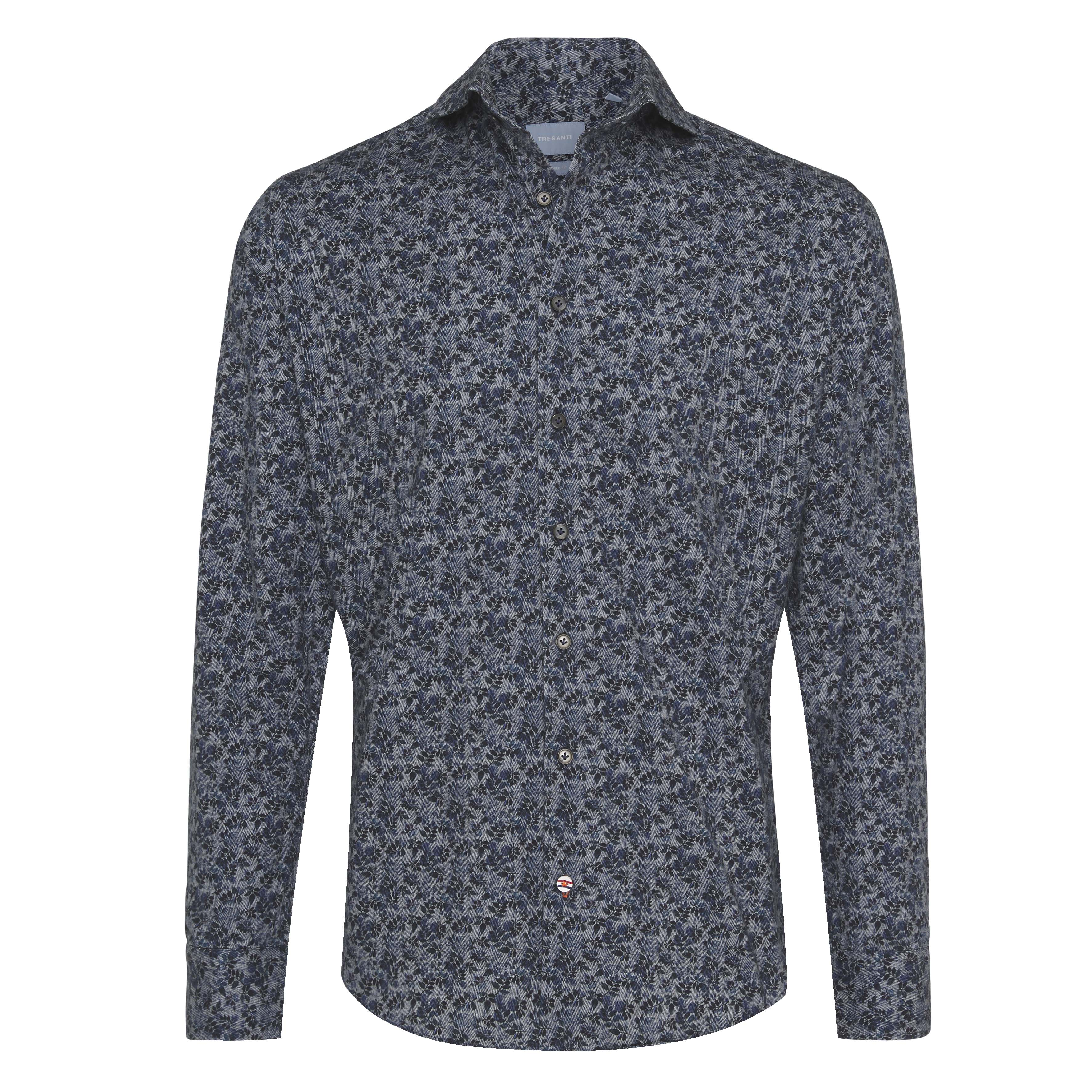 Jericho | Flower print on herringbone shirt blue