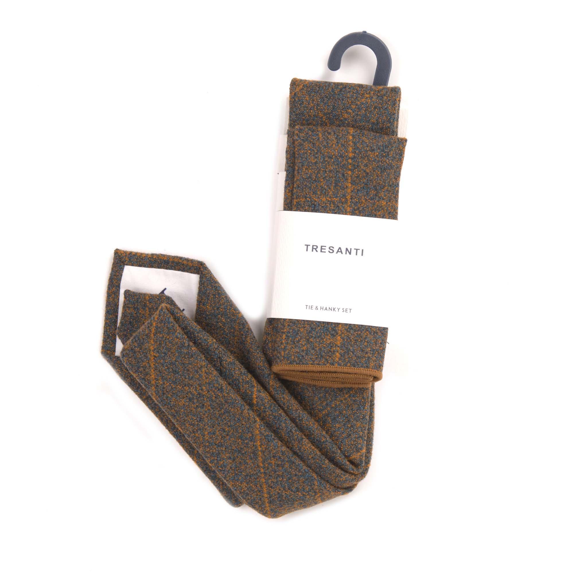 Tie & hanky set brown